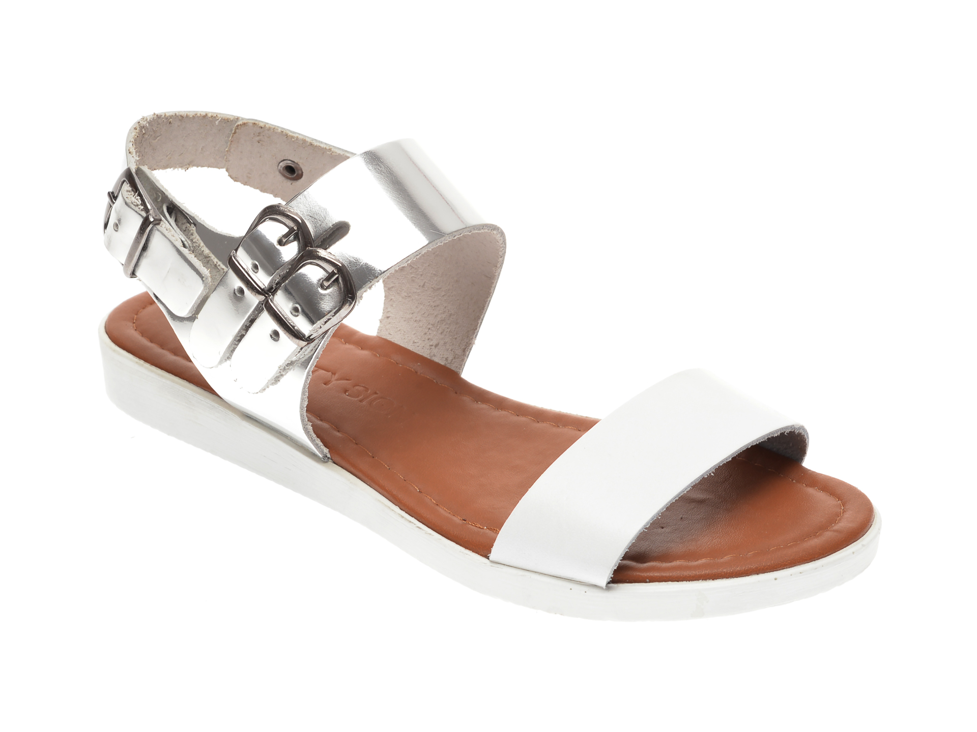 Sandale CITY SIGN albe, 01, din piele naturala New