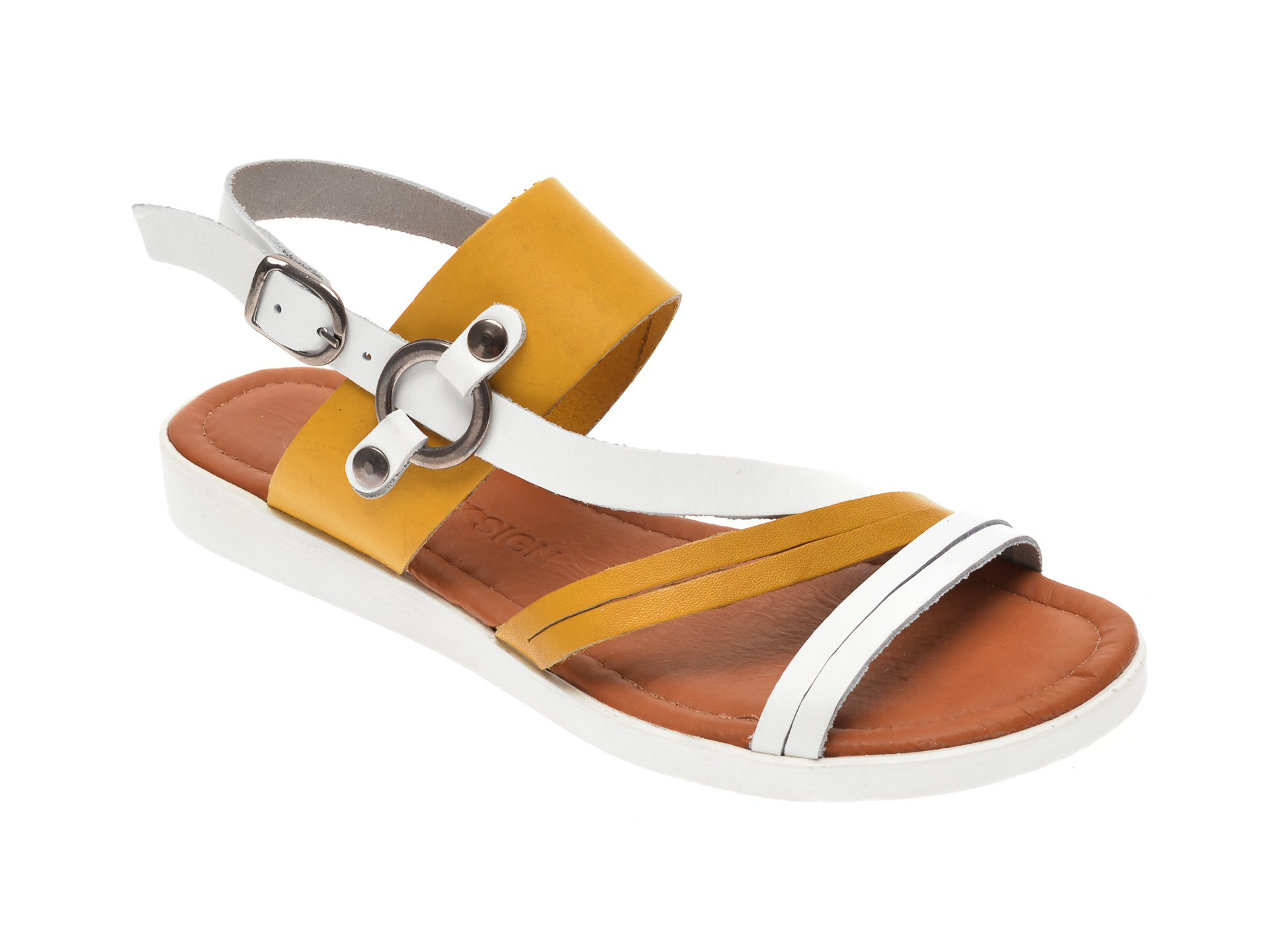Sandale CITY SIGN galbene, 02, din piele naturala