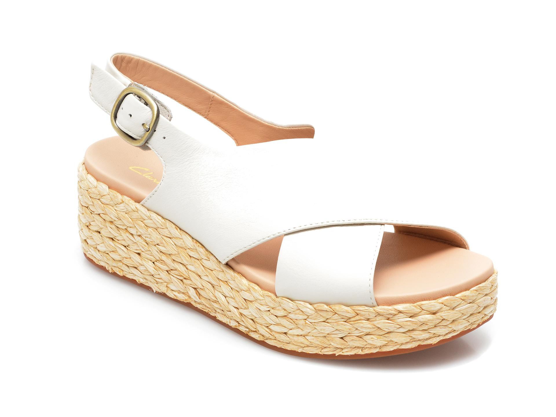 Sandale CLARKS albe, Kimmei Cross, din piele naturala imagine otter.ro 2021