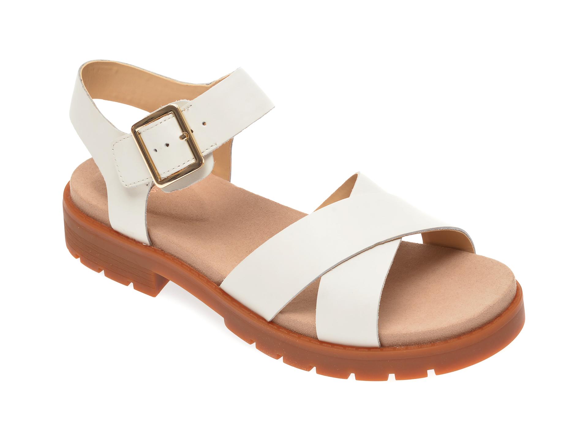 Sandale CLARKS albe, Orinoco Strap, din piele naturala
