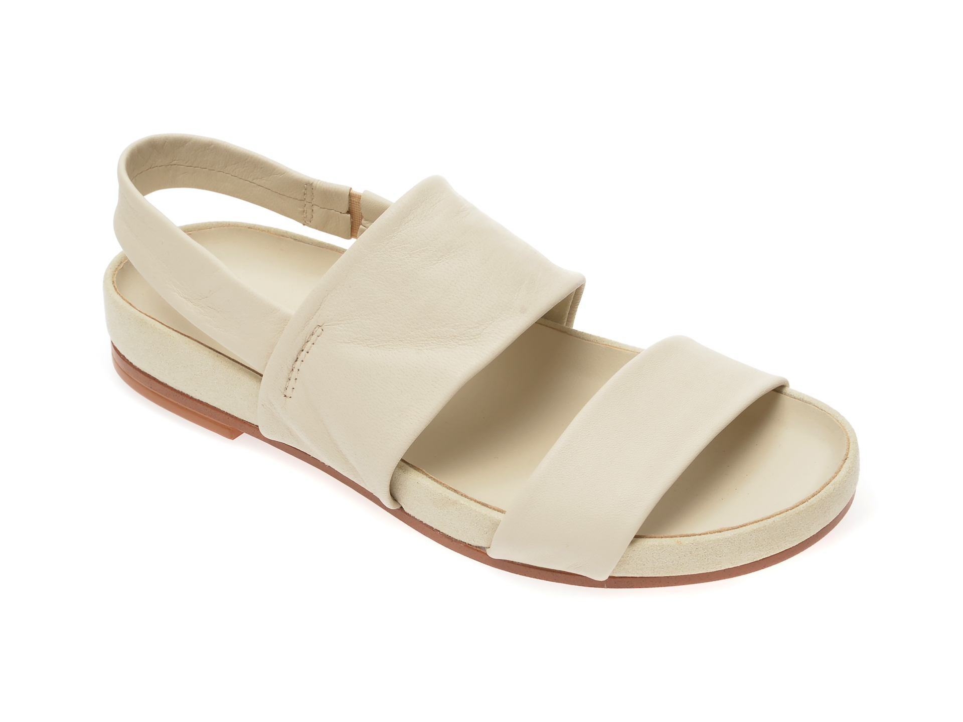 Sandale CLARKS albe, Pure Strap, din piele naturala