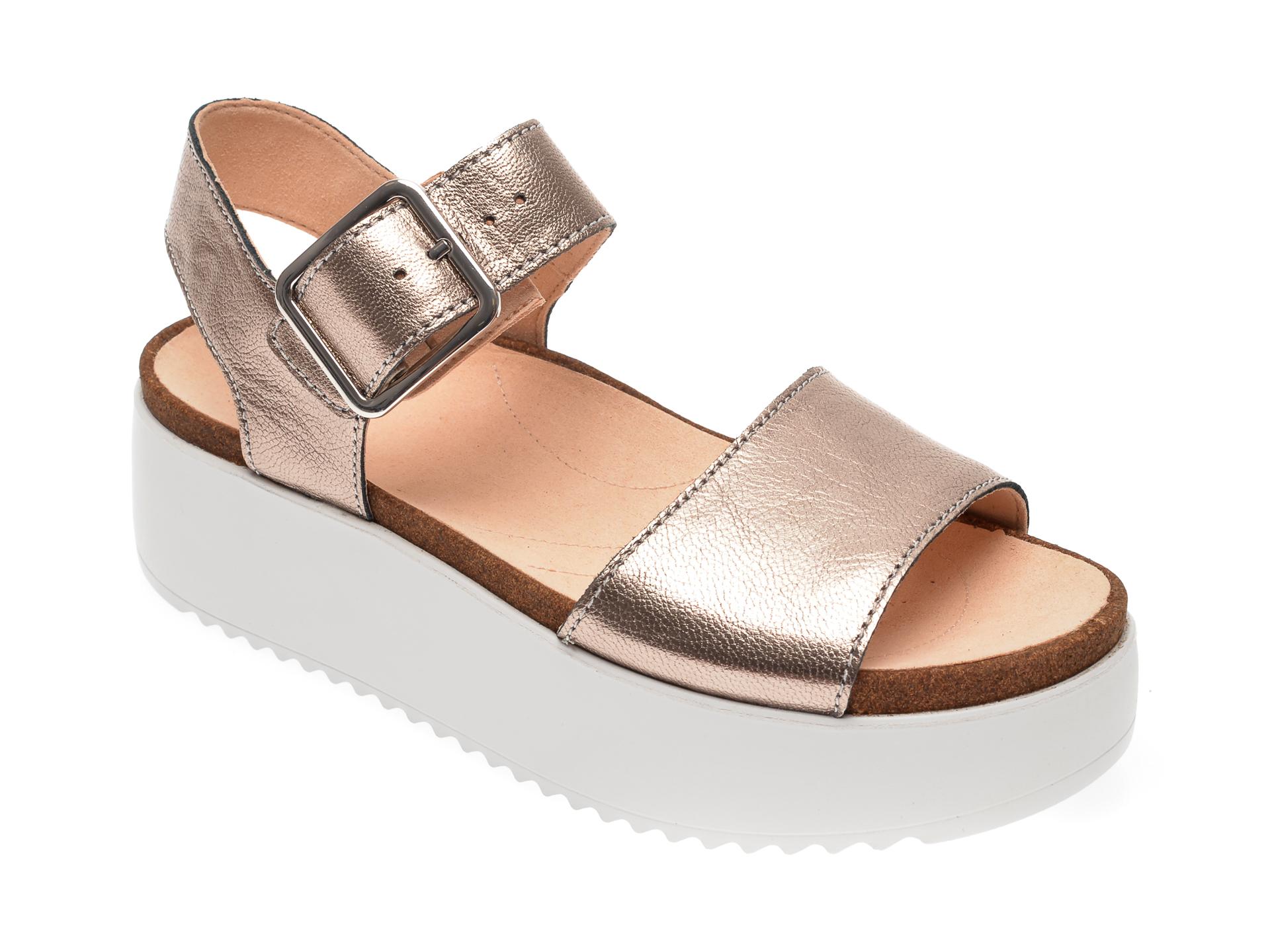 Sandale CLARKS argintii, Tri Alexia, din piele naturala