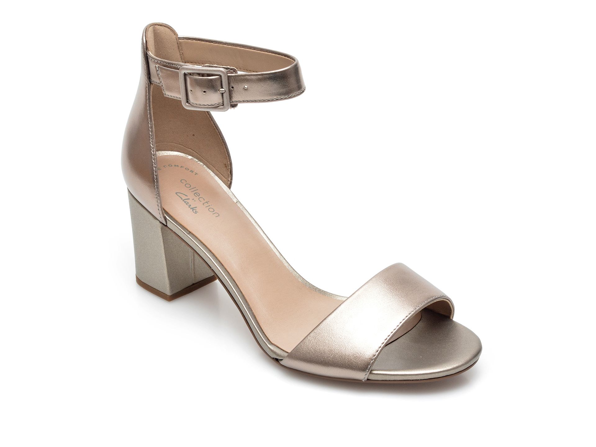Sandale CLARKS aurii, Deva Mae, din piele naturala imagine otter.ro 2021