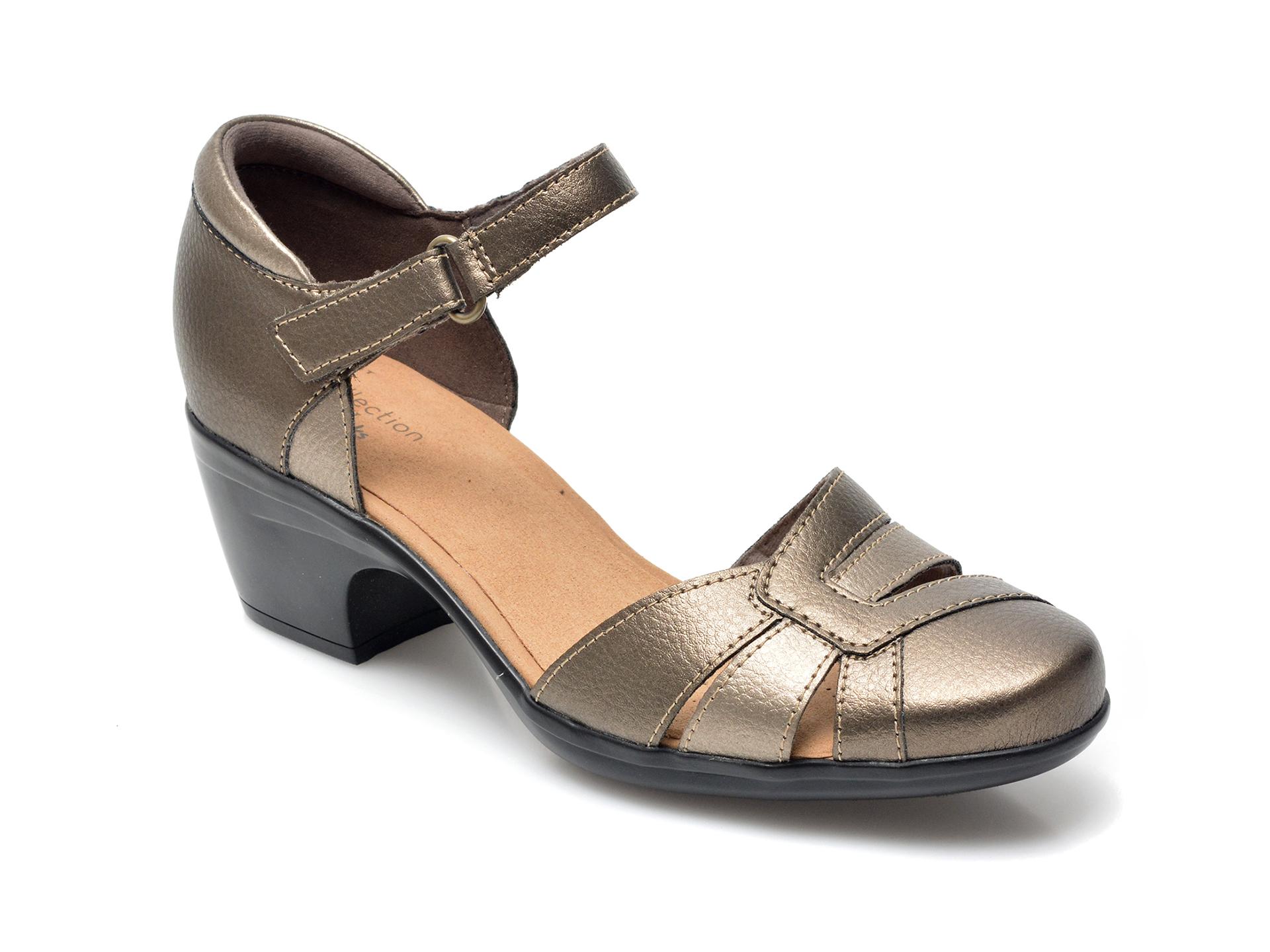 Sandale CLARKS aurii, Flex Sun, din piele naturala