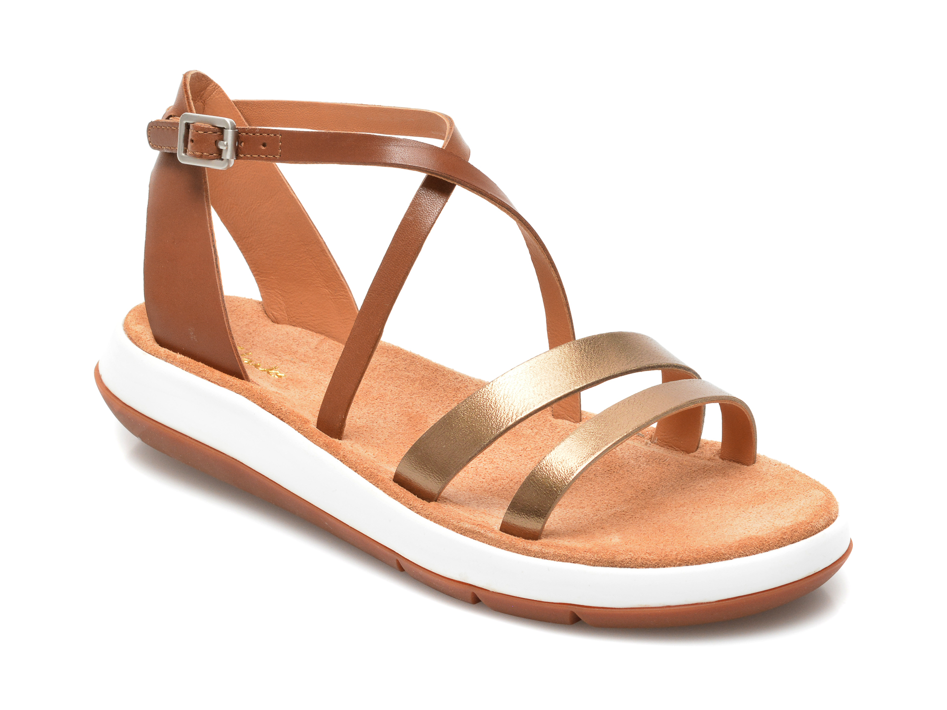 Sandale CLARKS aurii, Jemsa Strap, din piele naturala