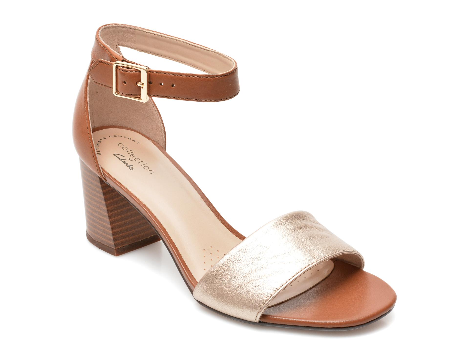 Sandale CLARKS negre, Arla Jacory, din piele ecologica