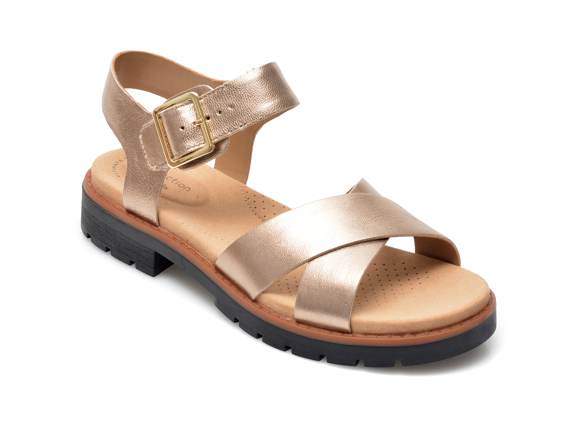 Sandale CLARKS aurii, Orinoco Strap, din piele naturala imagine otter.ro 2021