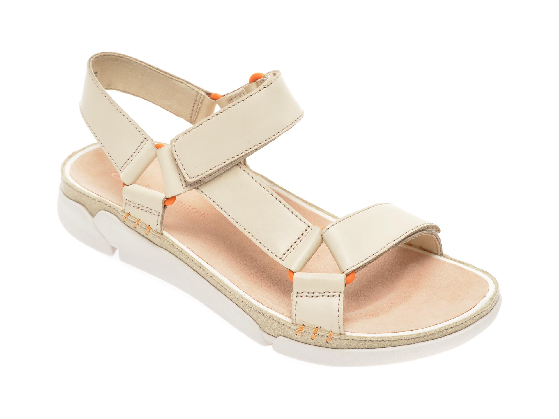Sandale CLARKS bej, Tri Sporty, din piele naturala New