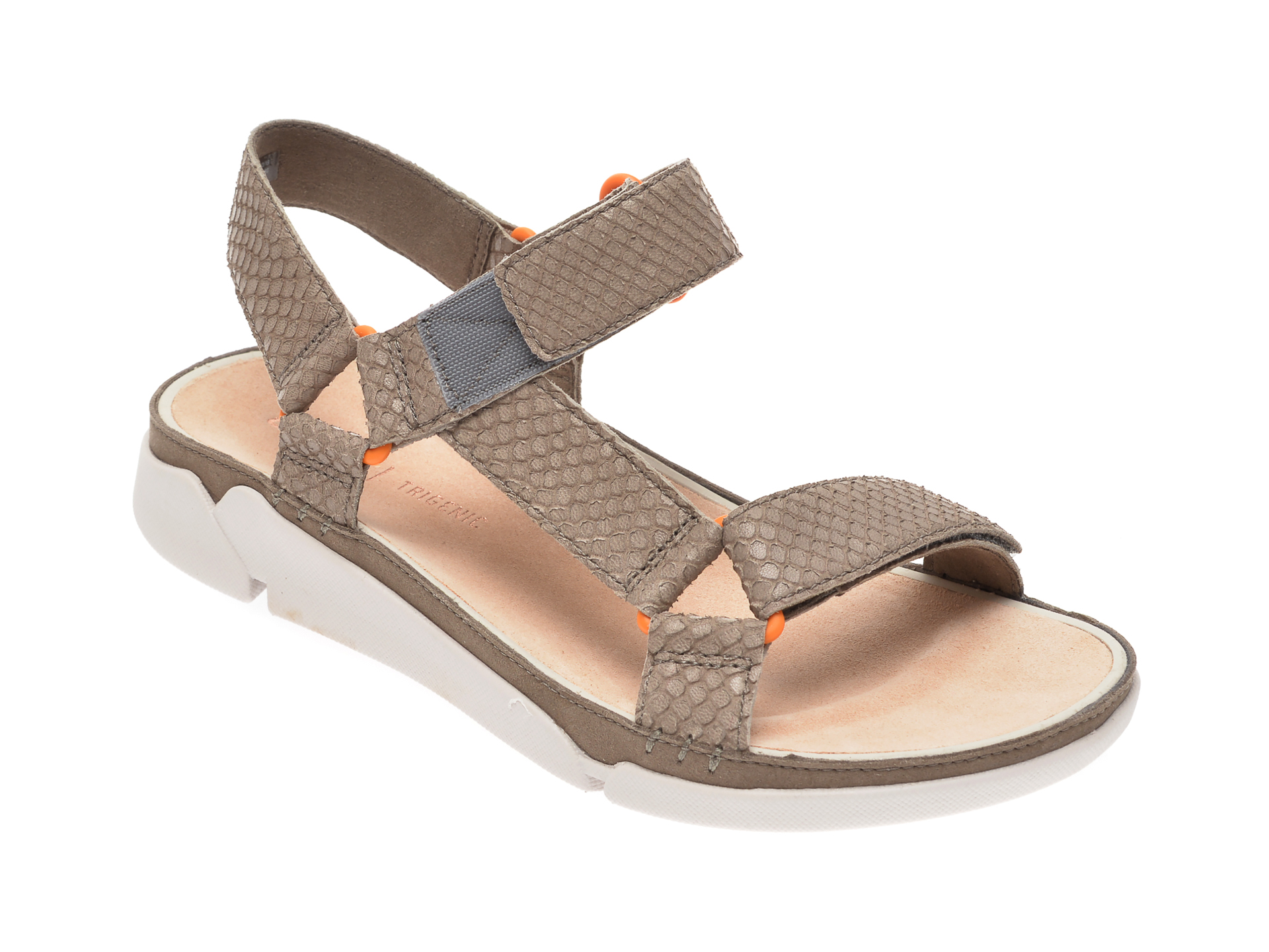 Sandale CLARKS nude, Lafley Lily, din piele naturala si material textil