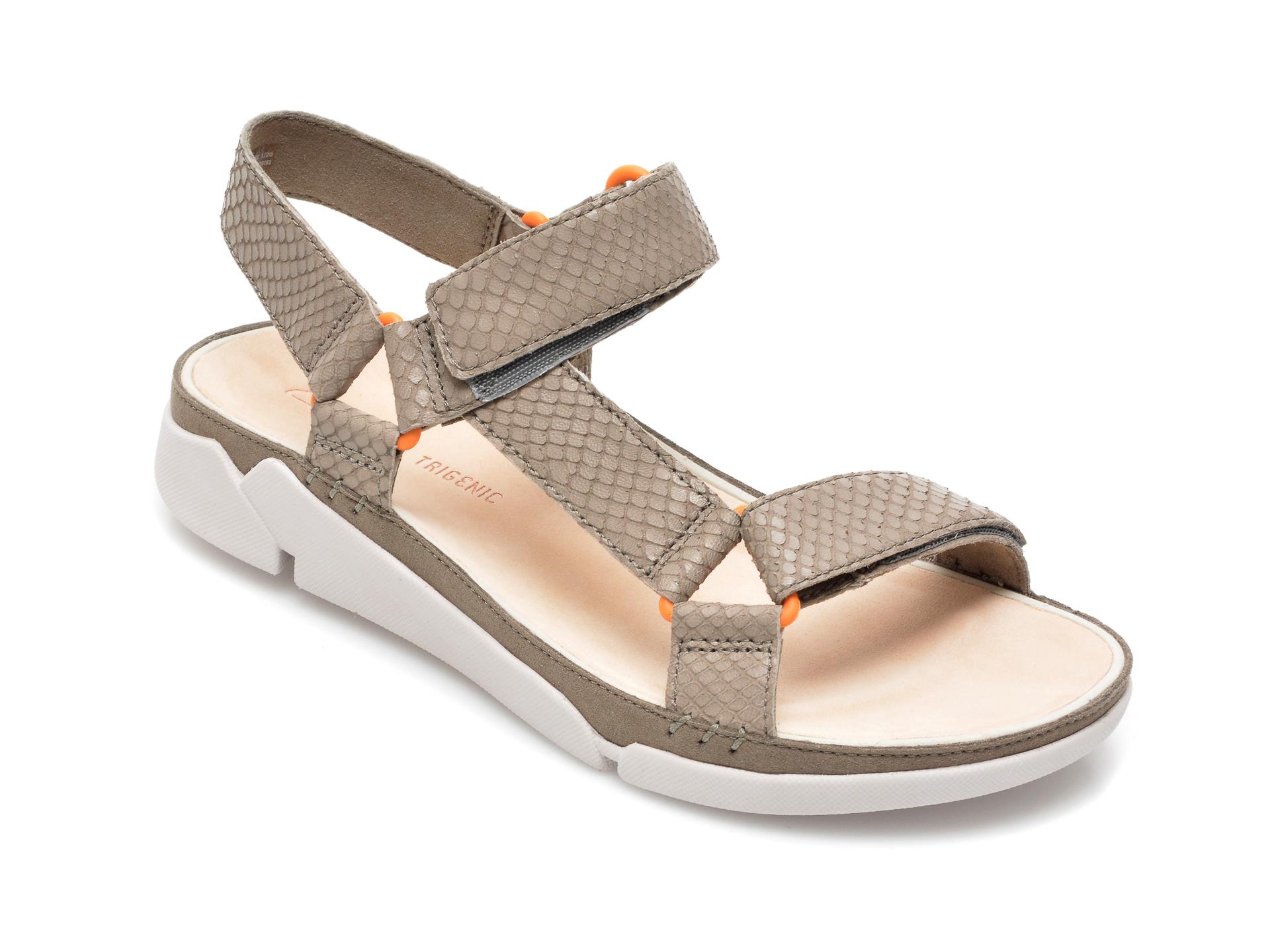 Sandale CLARKS gri, Tri Sporty, din piele naturala imagine otter.ro 2021