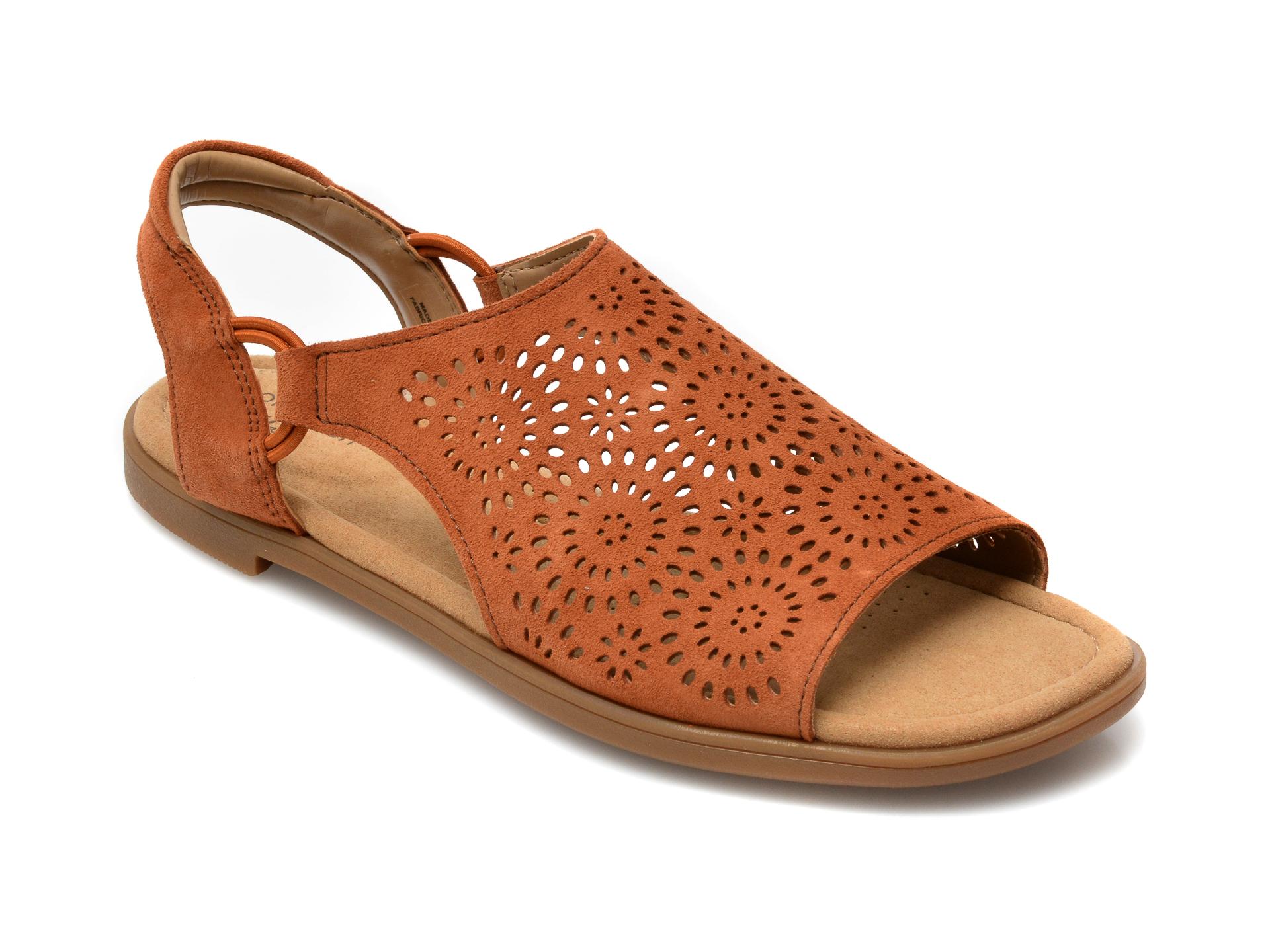 Sandale CLARKS maro, Reyna Swirl, din piele intoarsa imagine otter.ro 2021