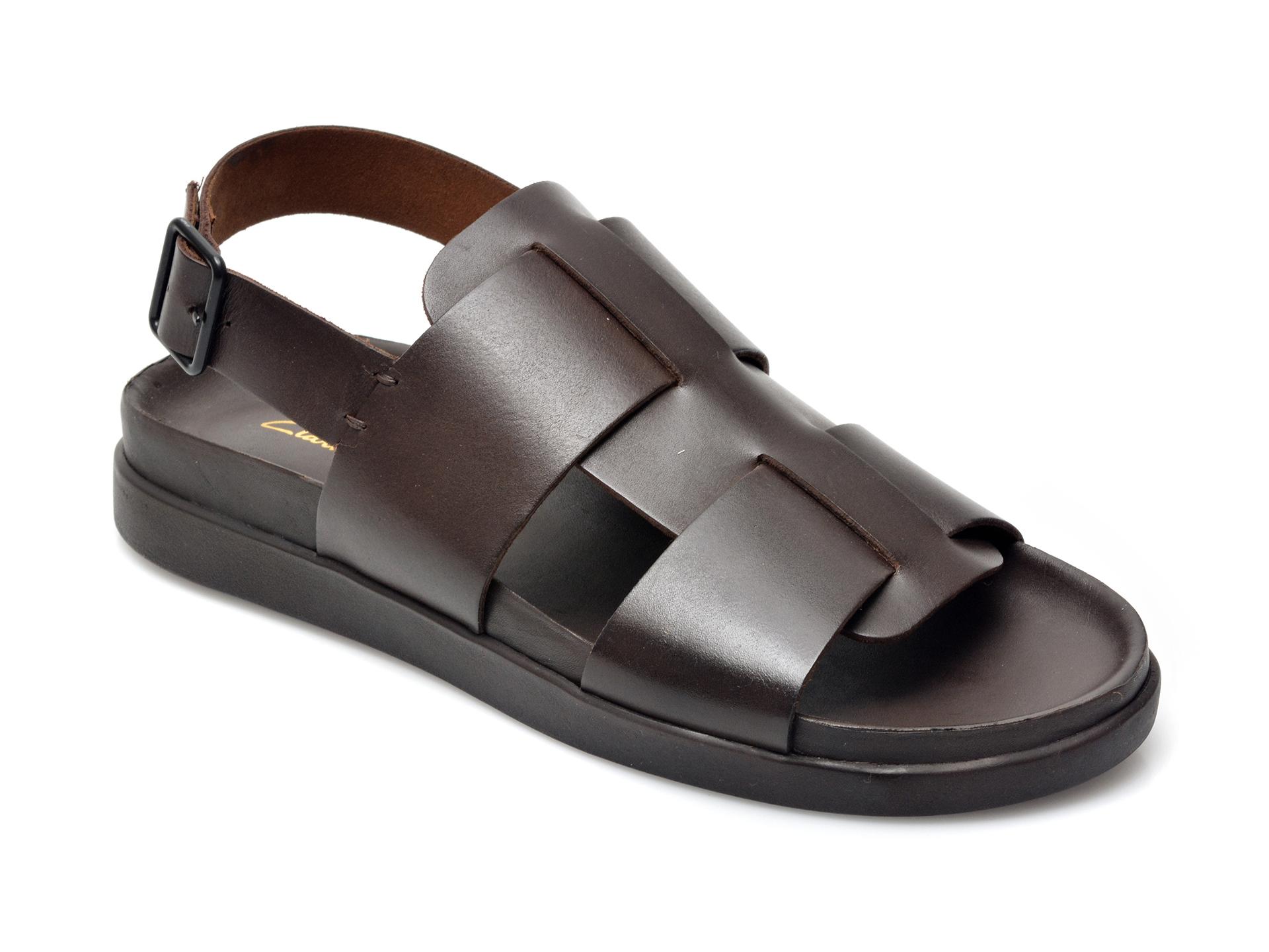 Sandale CLARKS maro, Sunder Strap, din piele naturala imagine otter.ro