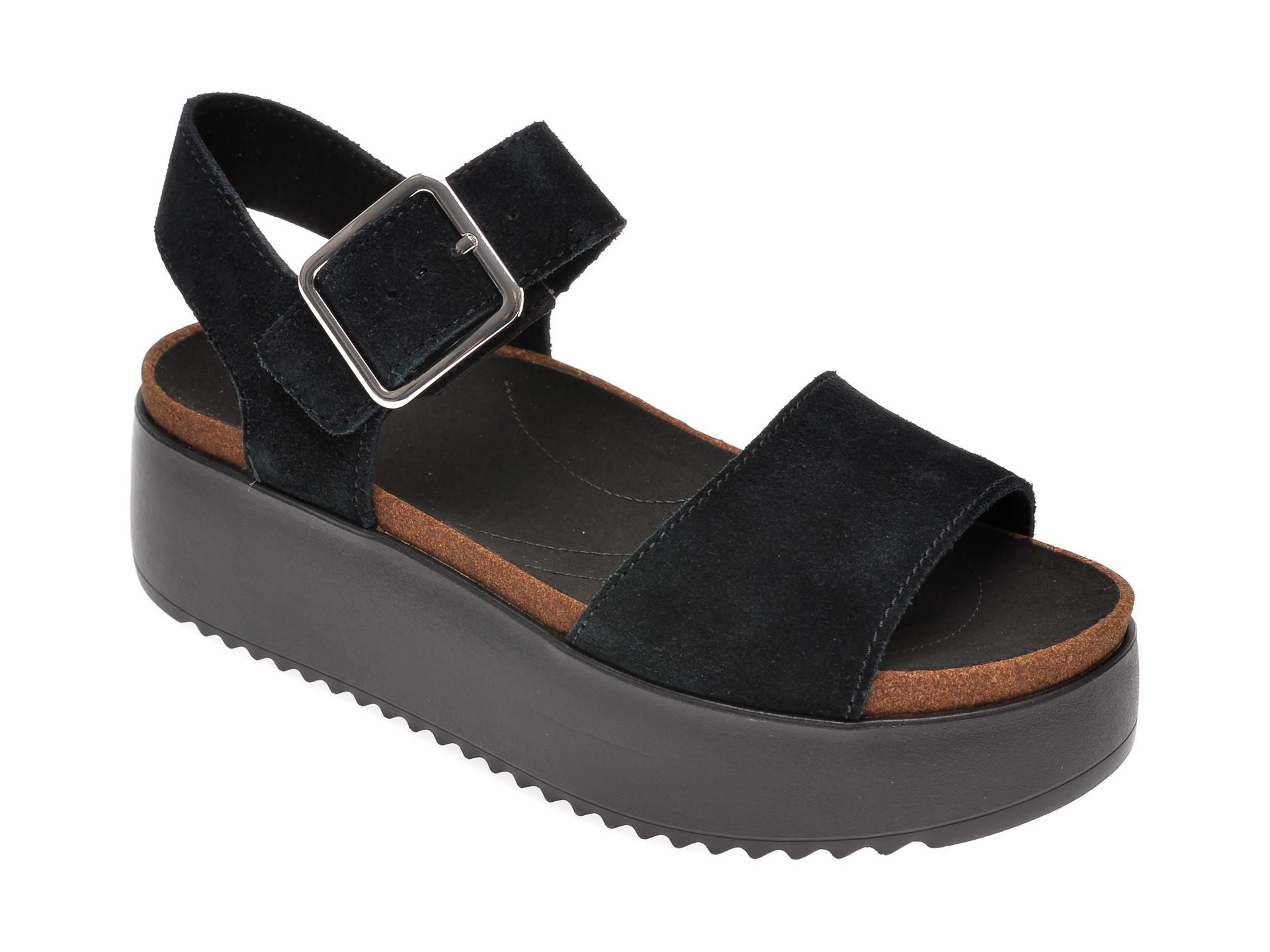 Sandale CLARKS negre, Botanic Strap, din piele intoarsa