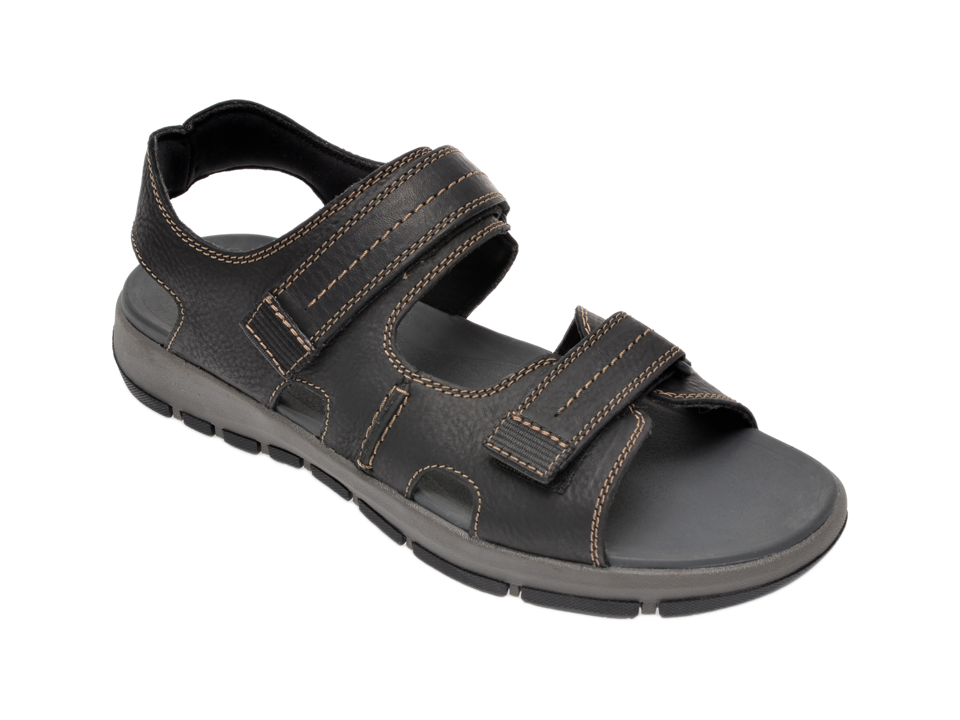 Sandale CLARKS negre, Brixby Shore, din piele naturala imagine
