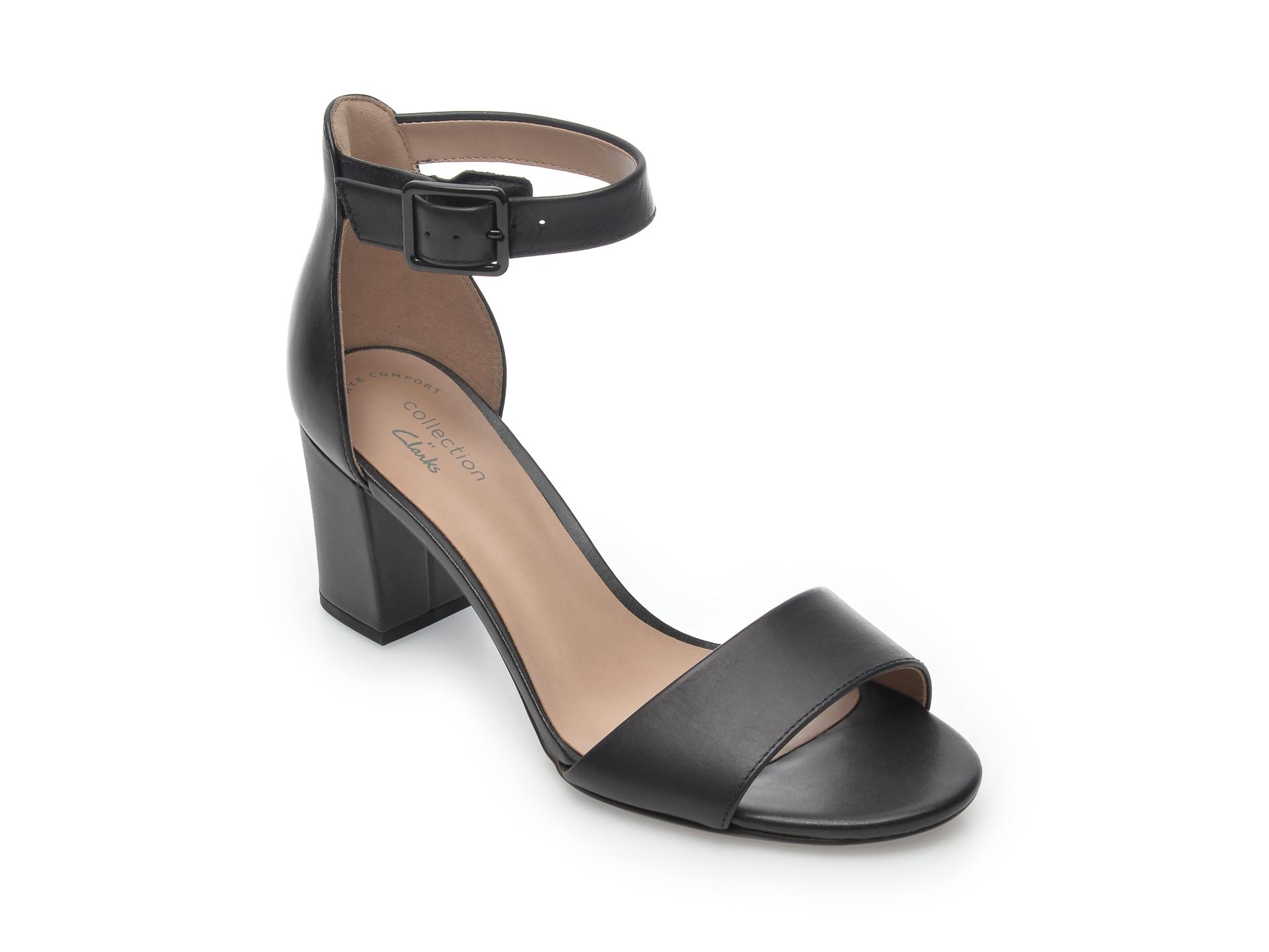 Sandale CLARKS negre, Deva Mae, din piele naturala imagine otter.ro 2021