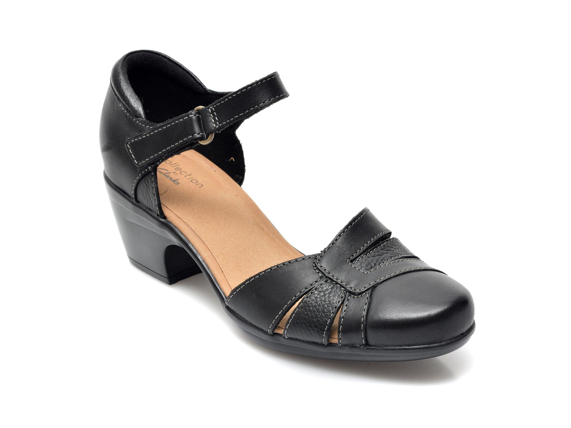 Sandale CLARKS negre, Emily Daisy, din piele naturala imagine otter.ro 2021