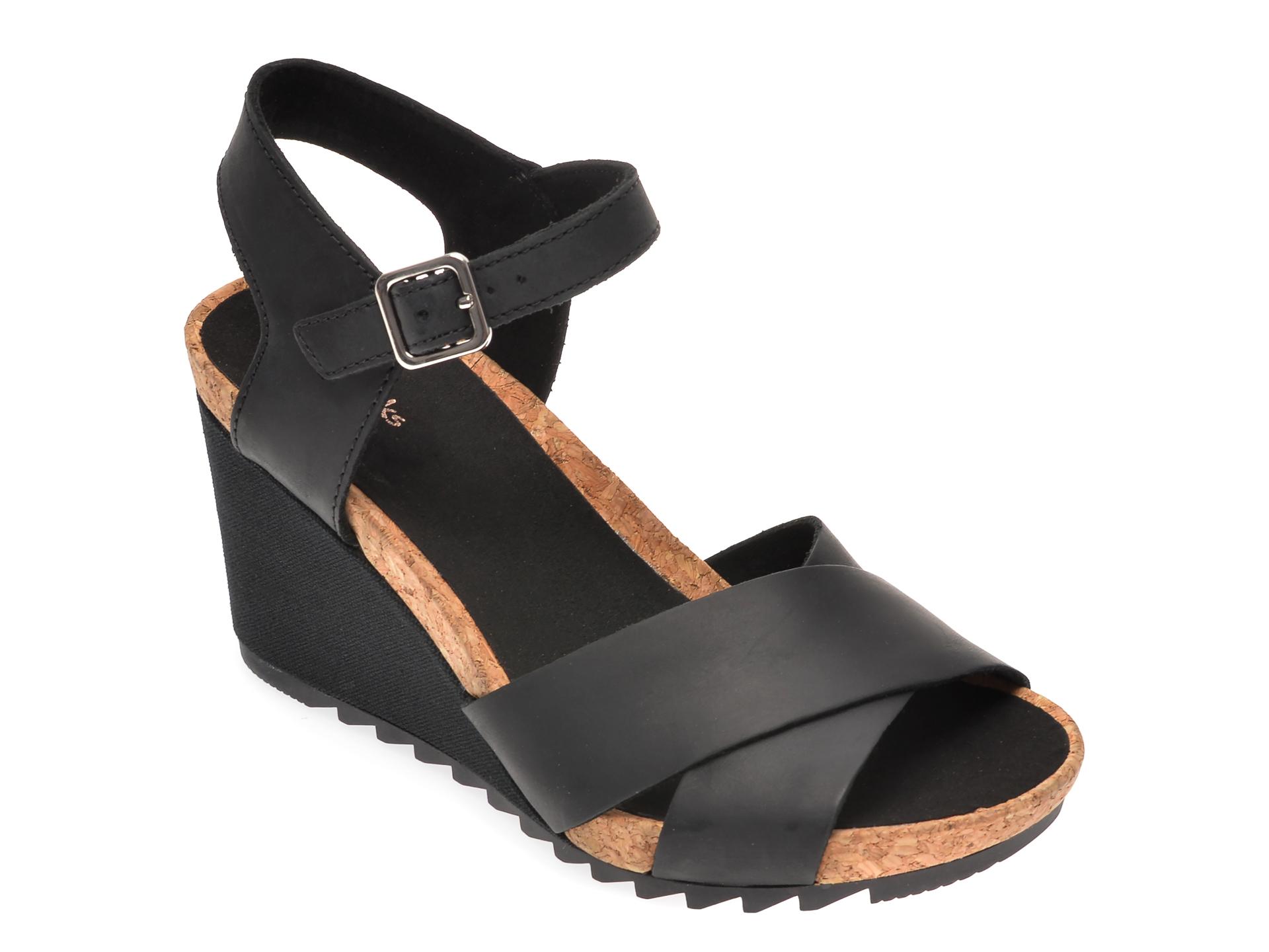 Sandale CLARKS negre, Flex Sun, din piele naturala