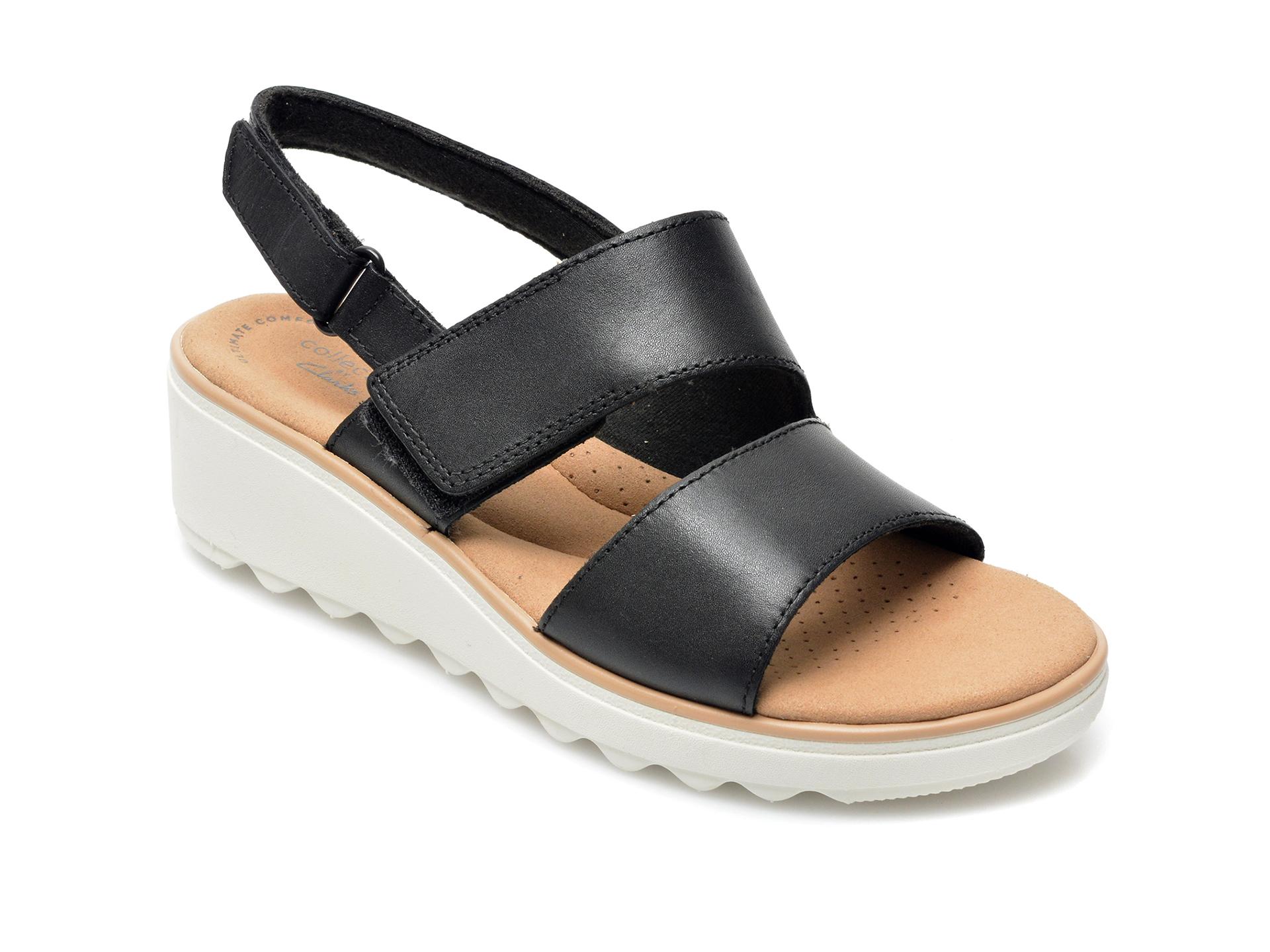 Sandale CLARKS negre, Jillian Pearl, din piele naturala imagine otter.ro 2021