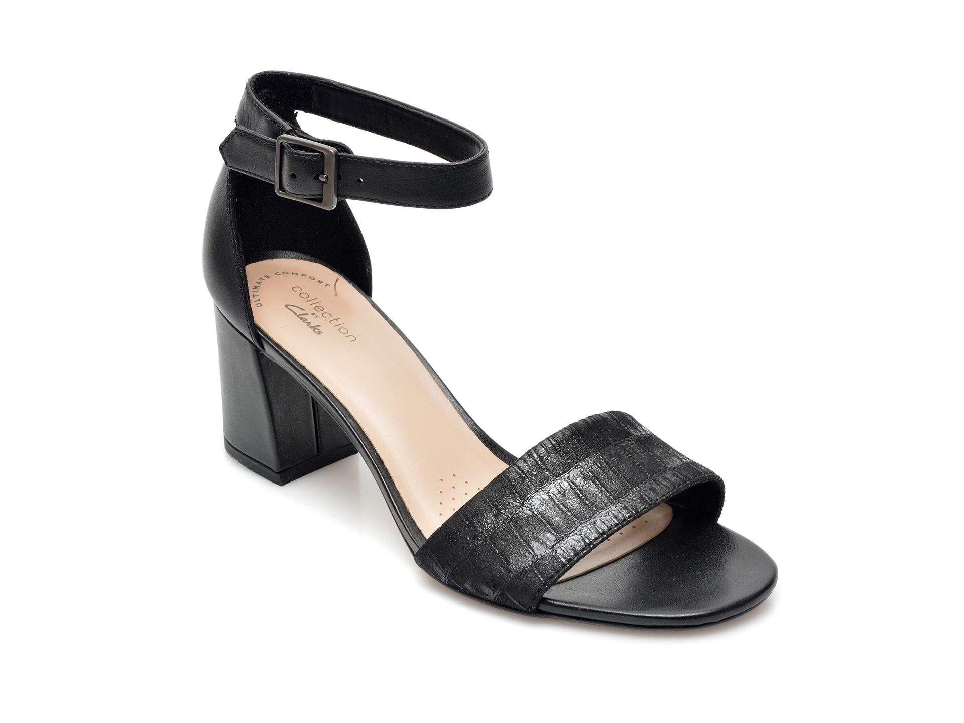 Sandale CLARKS negre, Jocelynne Cam, din piele naturala imagine otter.ro 2021