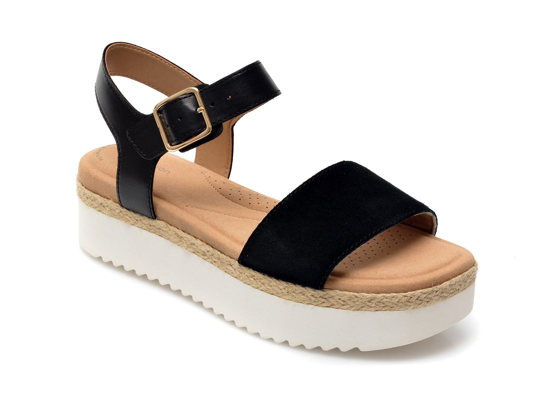 Sandale CLARKS negre, Lana Shore, din piele intoarsa imagine otter.ro