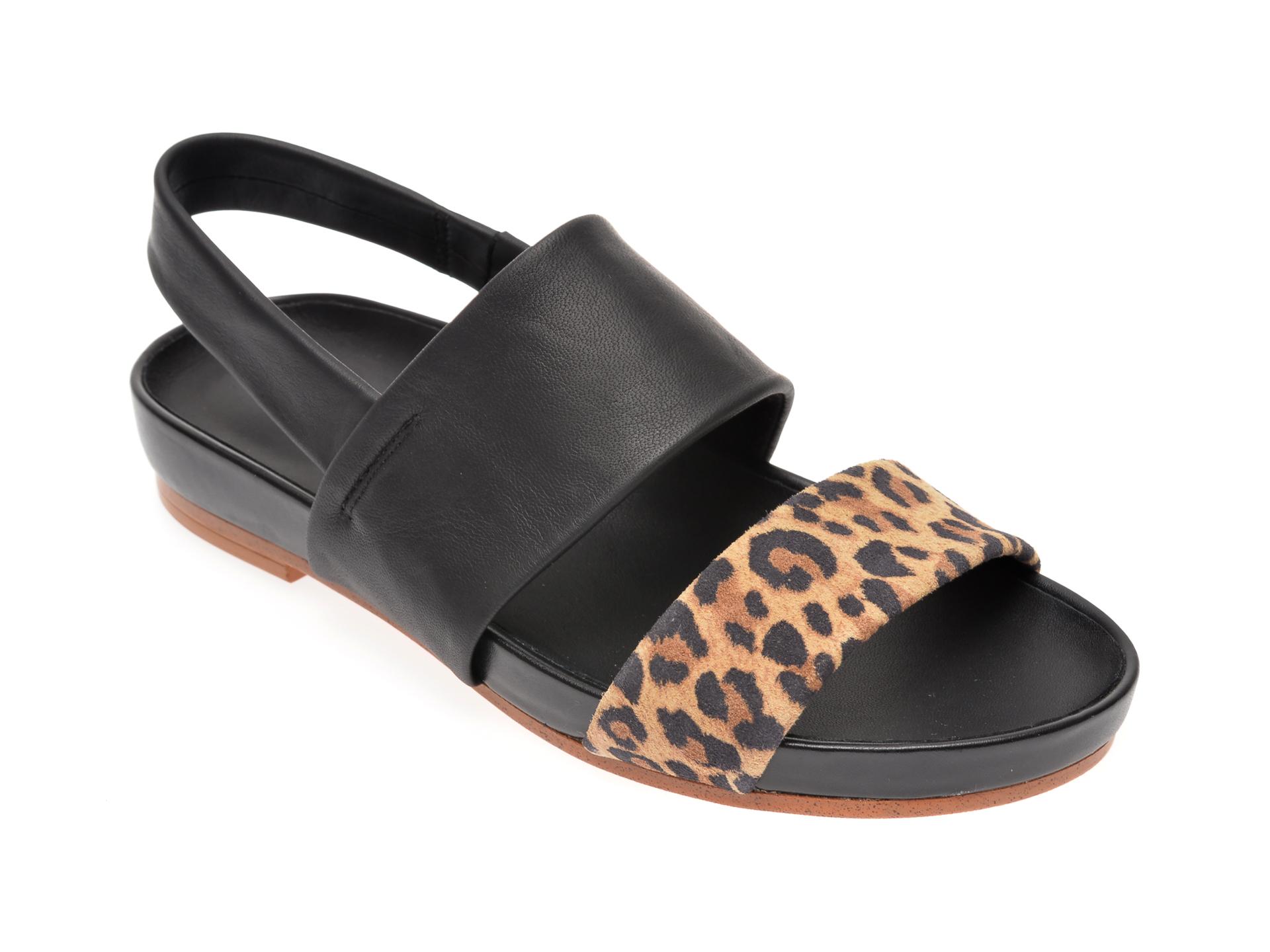 Sandale CLARKS negre, Pure Strap, din piele naturala