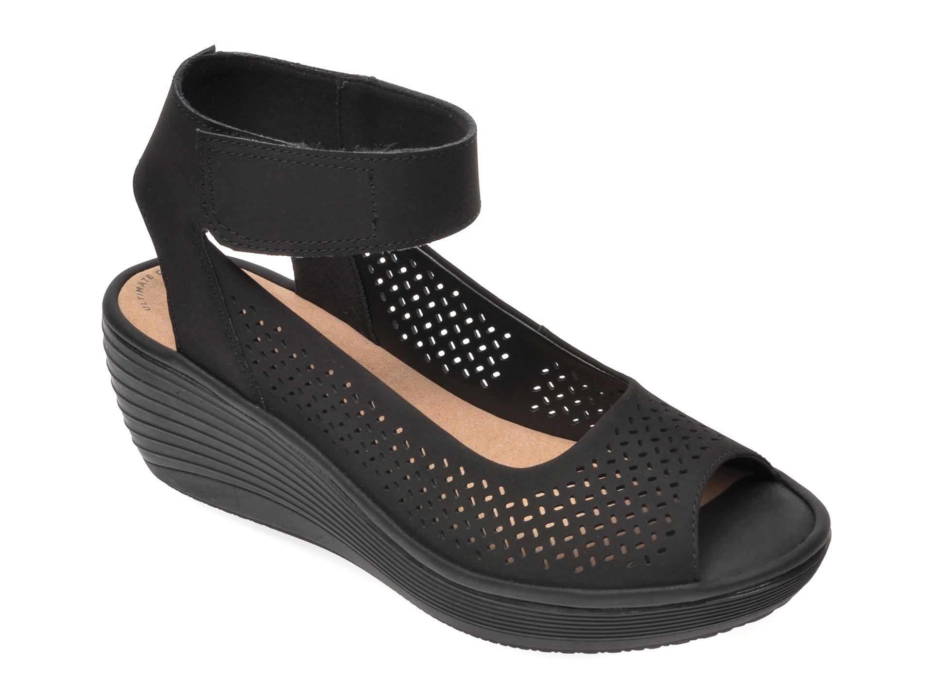 Sandale CLARKS negre, Reedly Jump, din nabuc