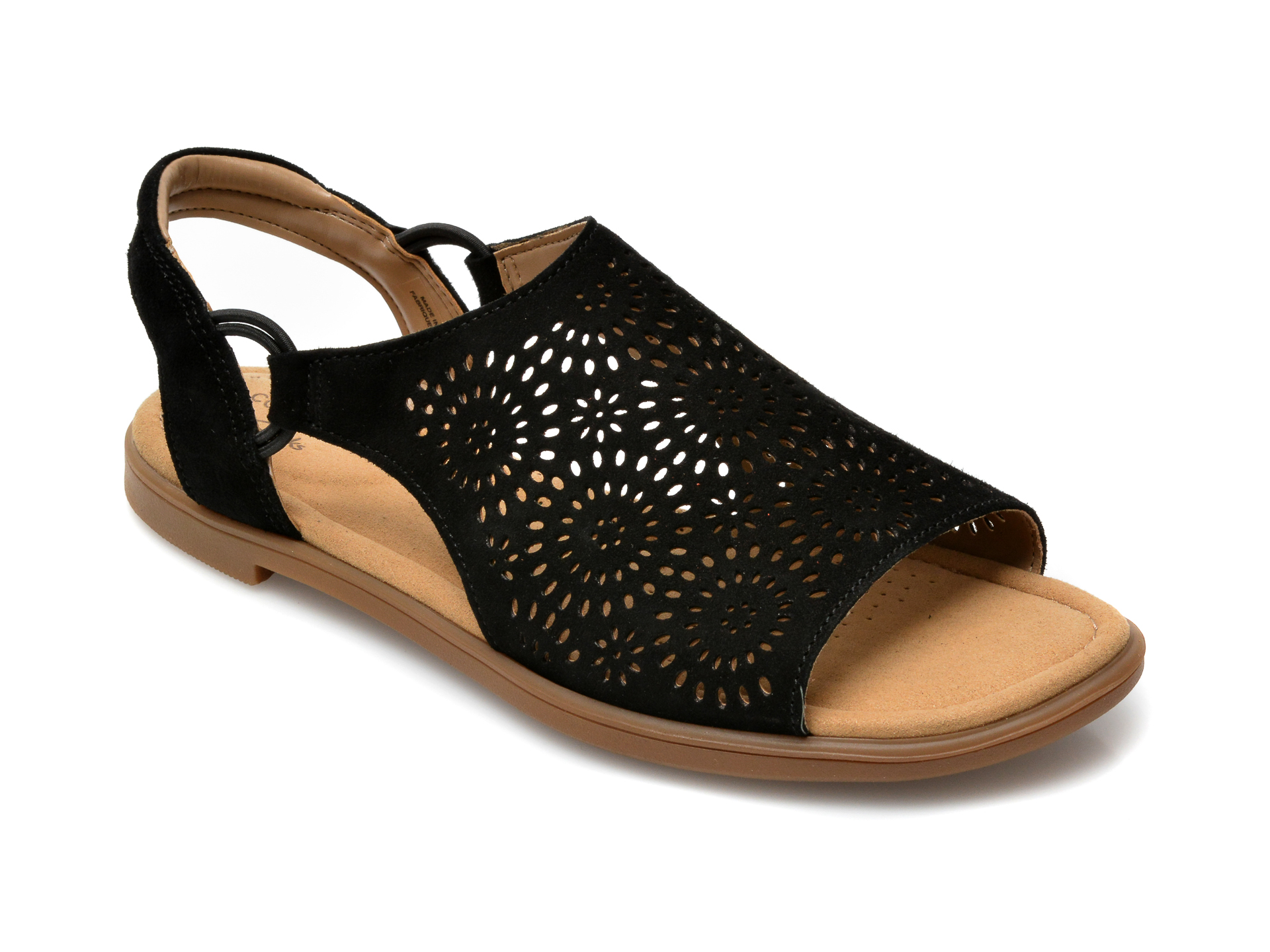 Sandale CLARKS negre, Reyna Swirl, din piele intoarsa imagine otter.ro 2021