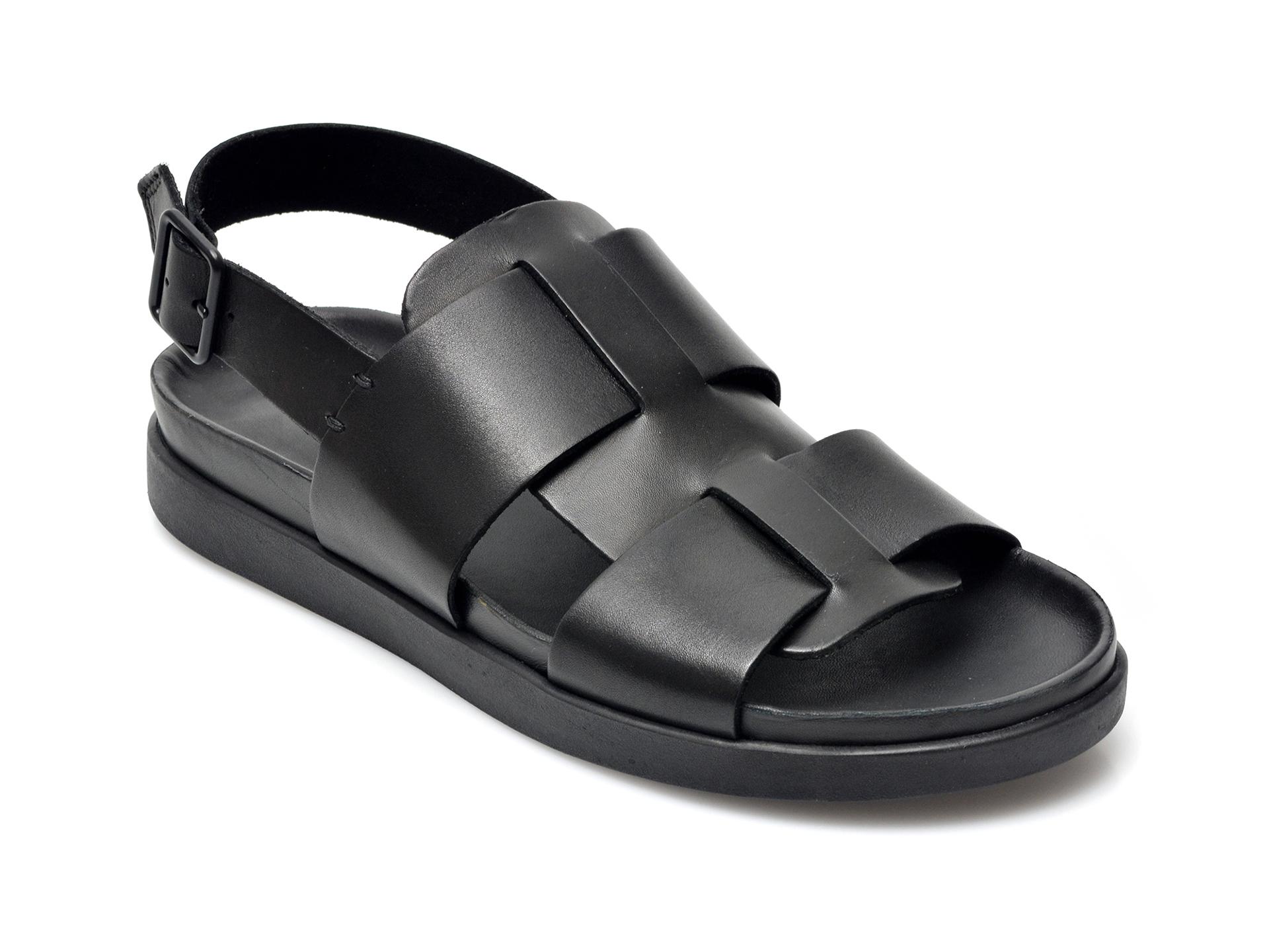 Sandale CLARKS negre, Sunder Strap, din piele naturala imagine otter.ro