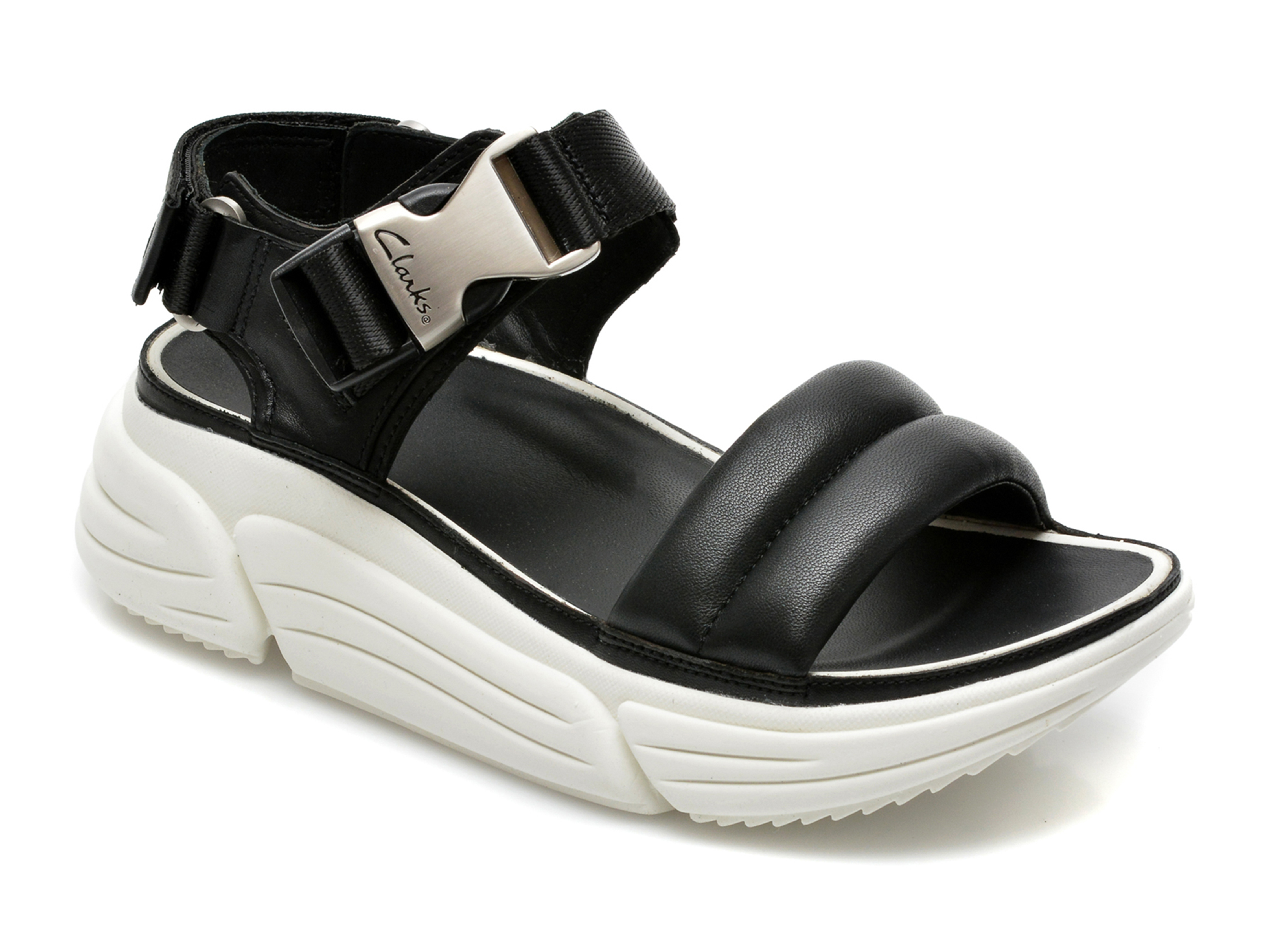Sandale CLARKS negre, Tricomet Sun, din piele naturala imagine otter.ro 2021