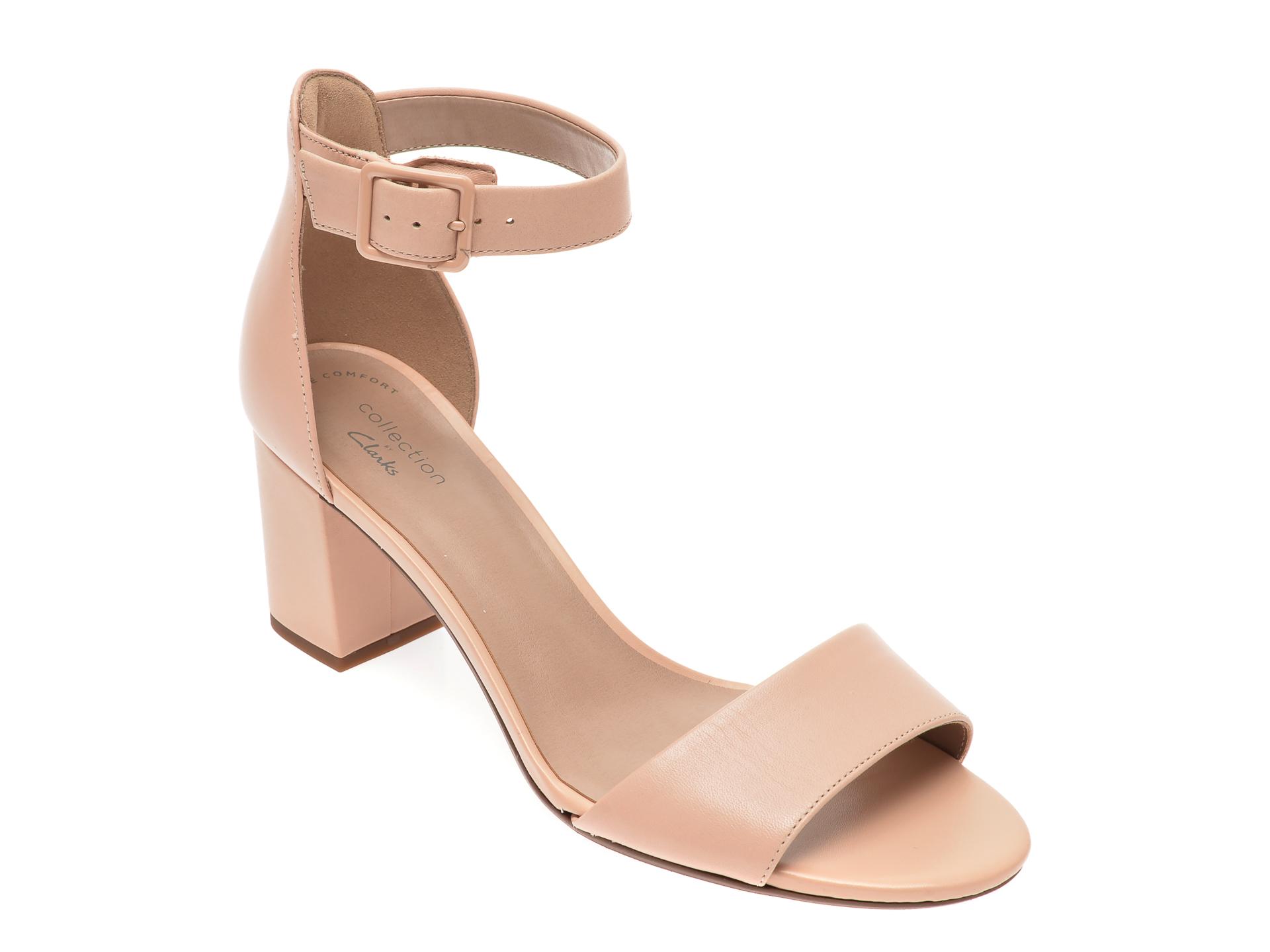 Sandale CLARKS nude, Deva Mae, din piele naturala New