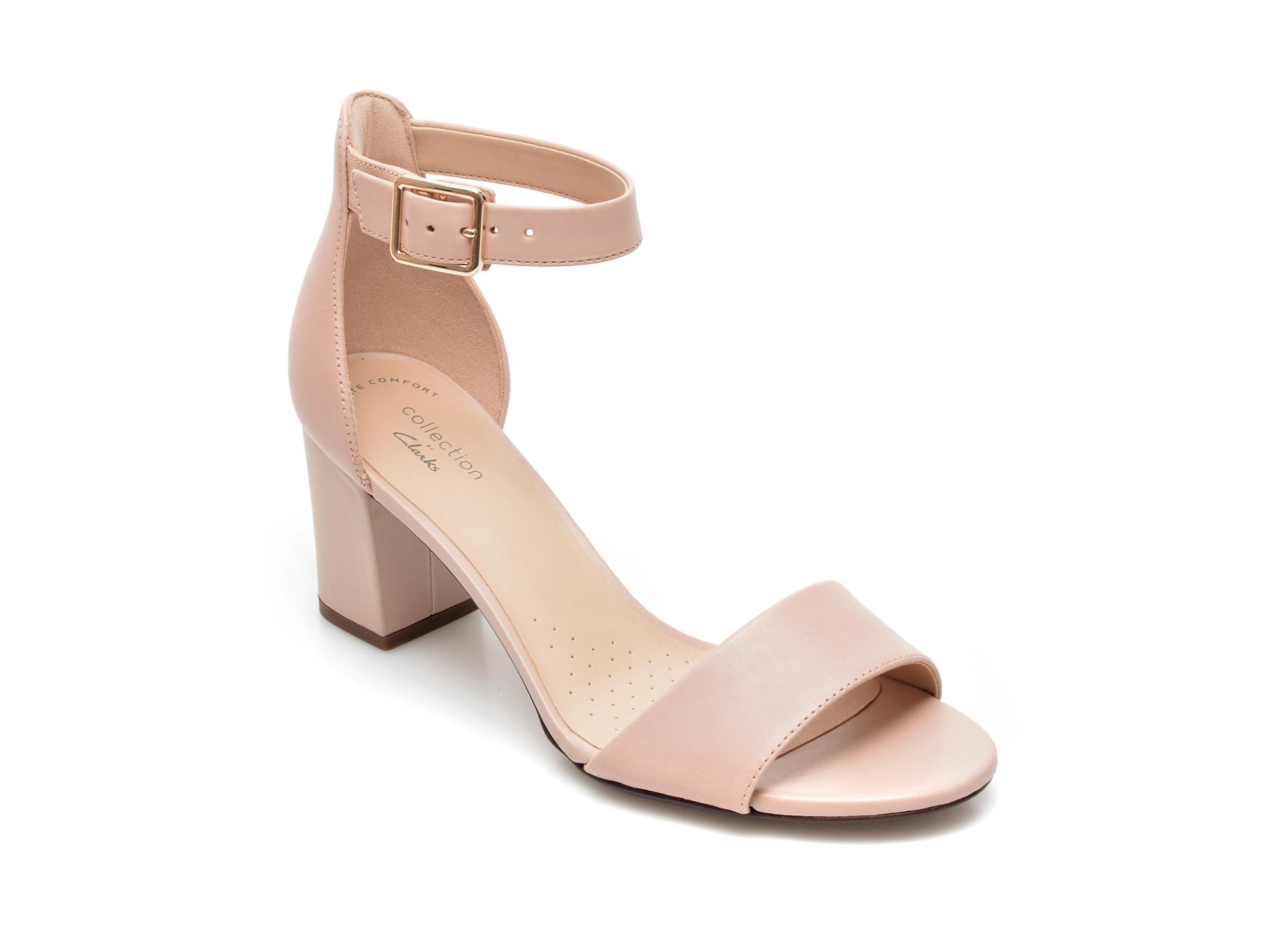 Sandale CLARKS nude, Deva Mae, din piele naturala imagine otter.ro 2021