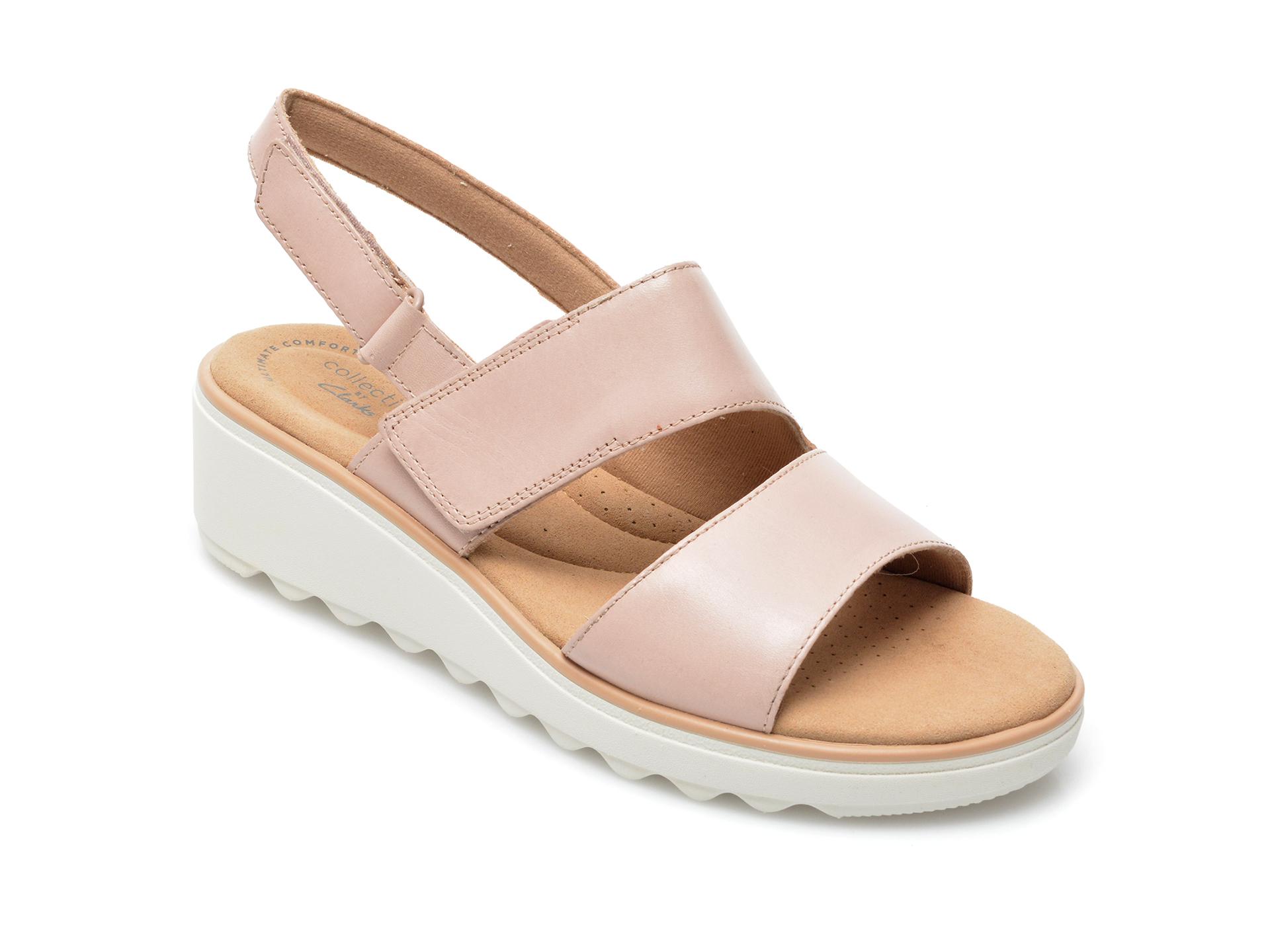 Sandale CLARKS nude, Jillian Pearl, din piele naturala imagine otter.ro 2021