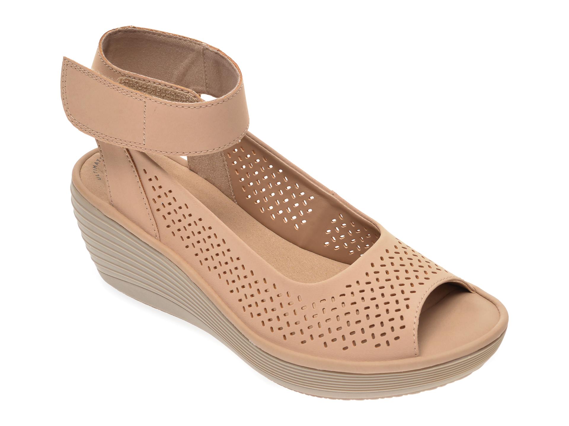 Sandale CLARKS nude, Reedly Jump, din nabuc