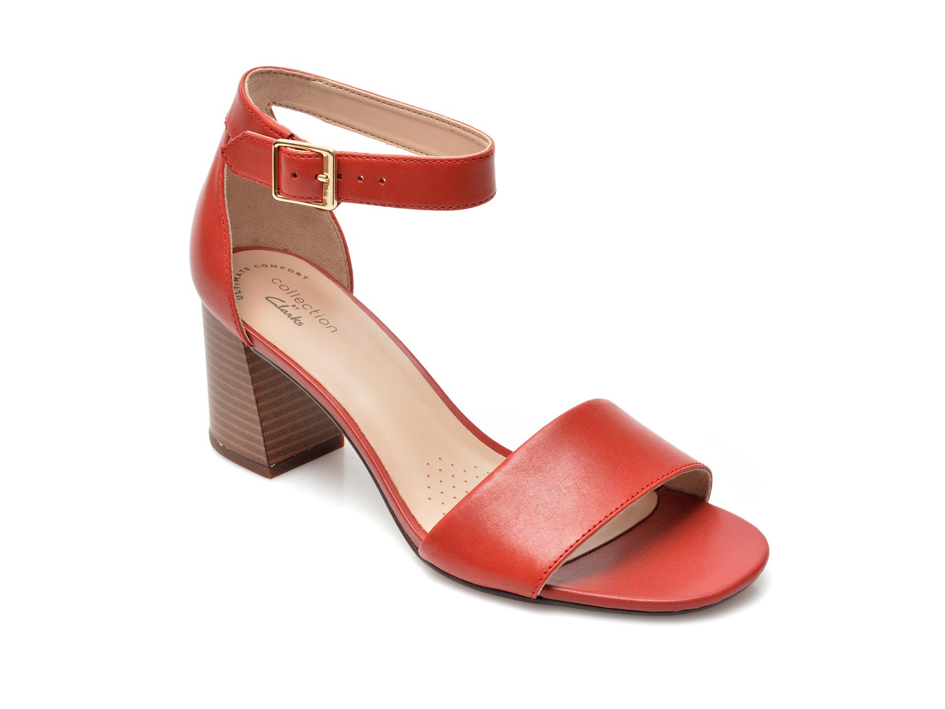 Sandale CLARKS rosii, Jocelynne Cam, din piele naturala imagine otter.ro 2021