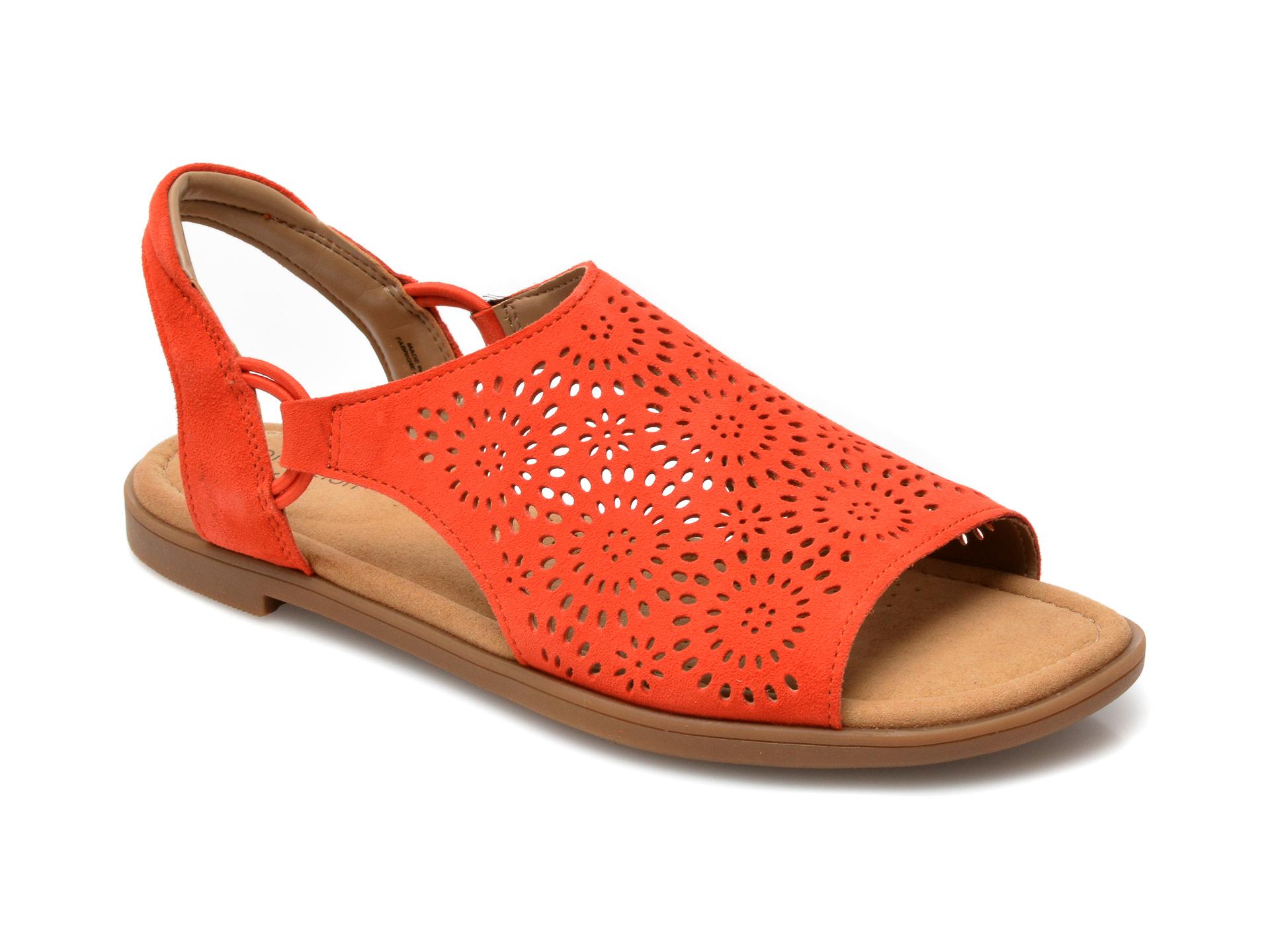 Sandale CLARKS rosii, Reyna Swirl, din piele intoarsa imagine otter.ro 2021