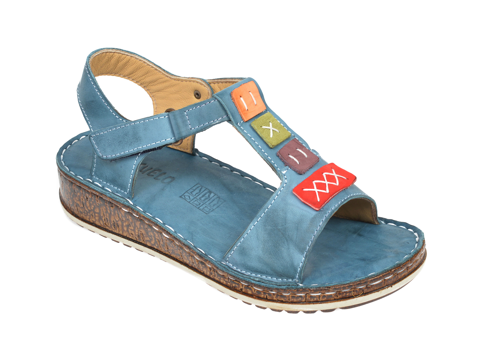 Sandale CONSUELO albastre, 1341, din piele naturala
