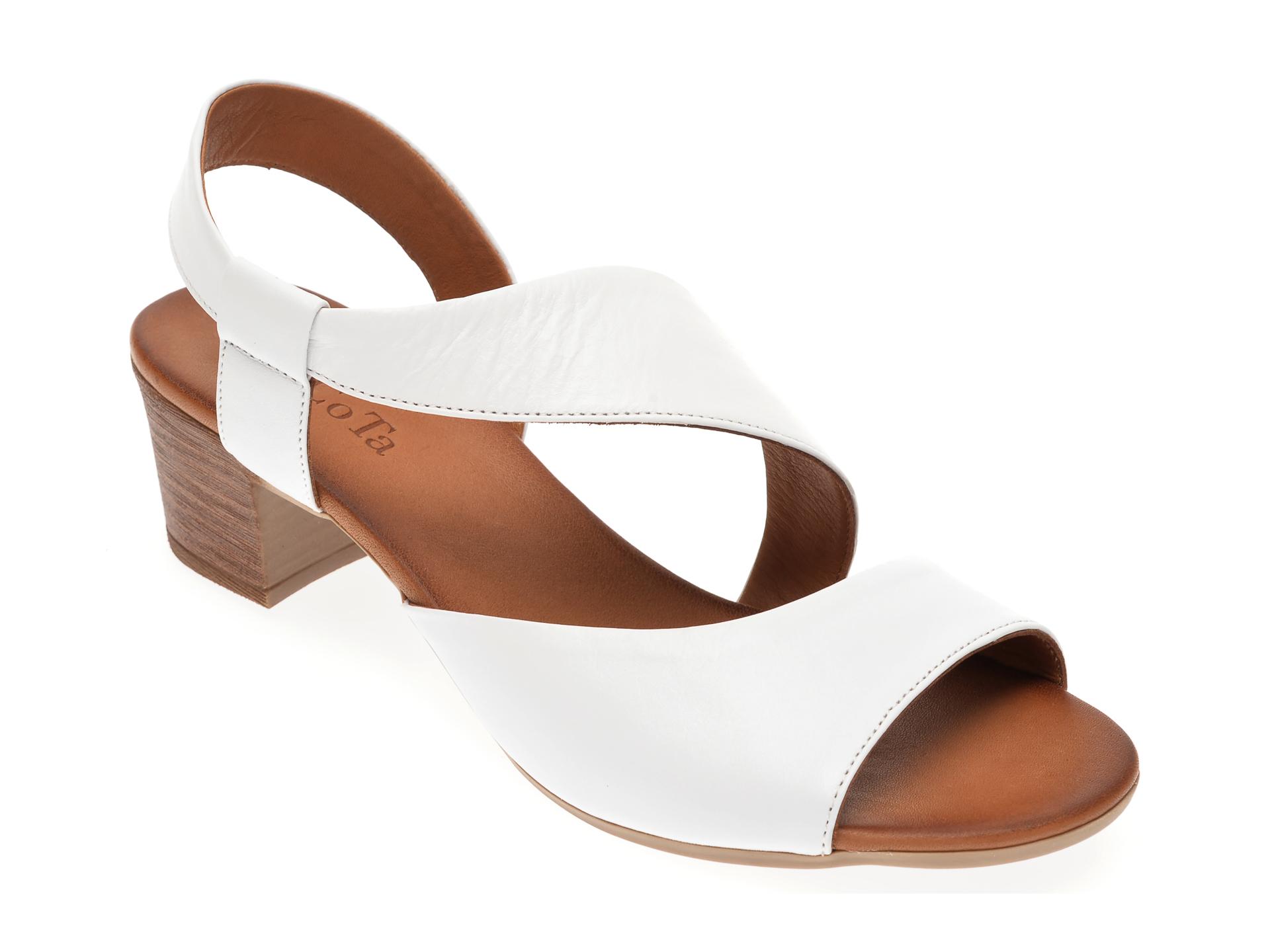 Sandale DACOTA albe, 085108, din piele naturala