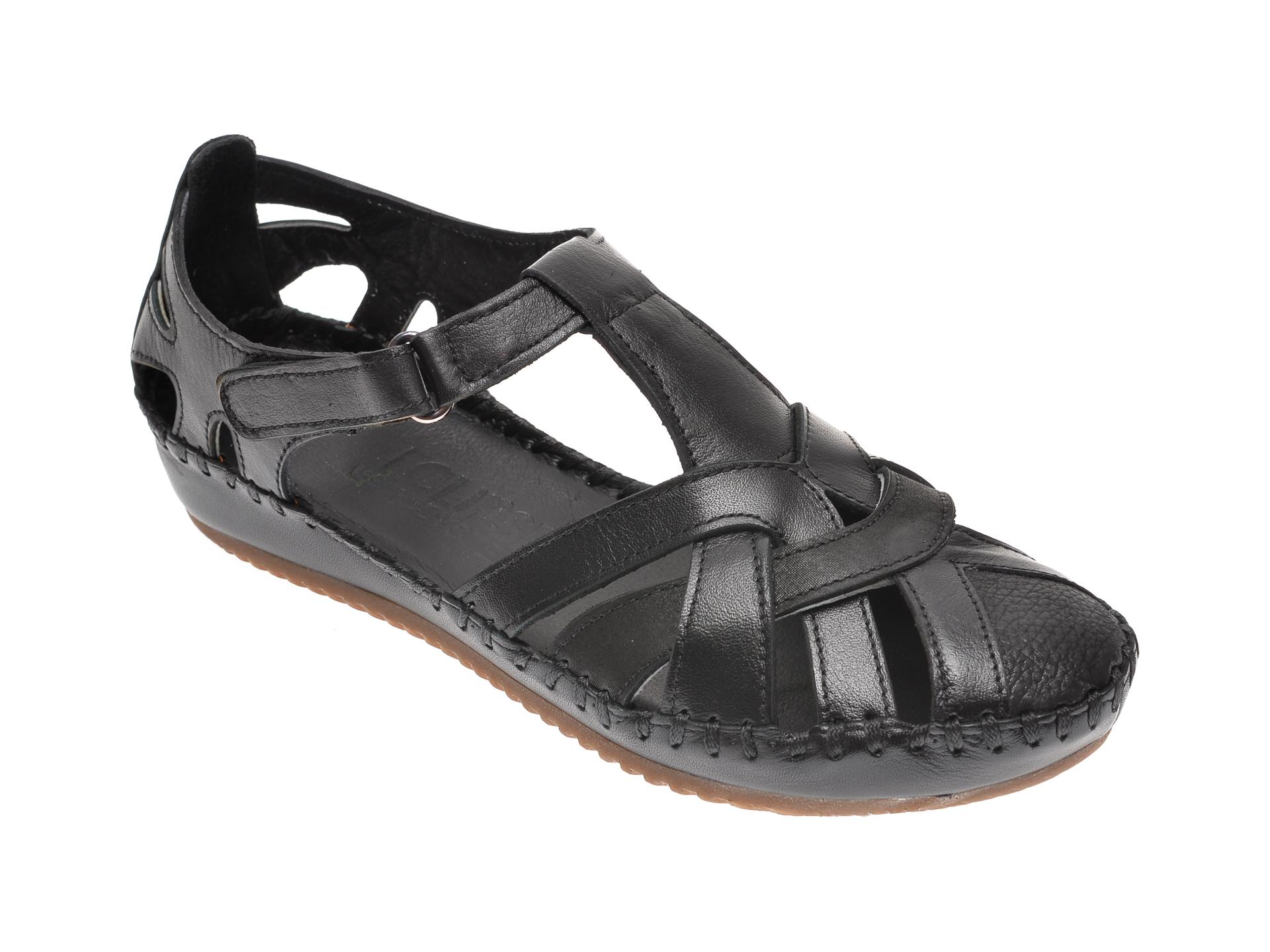 Sandale ECLIPSE negre, 705, din piele naturala