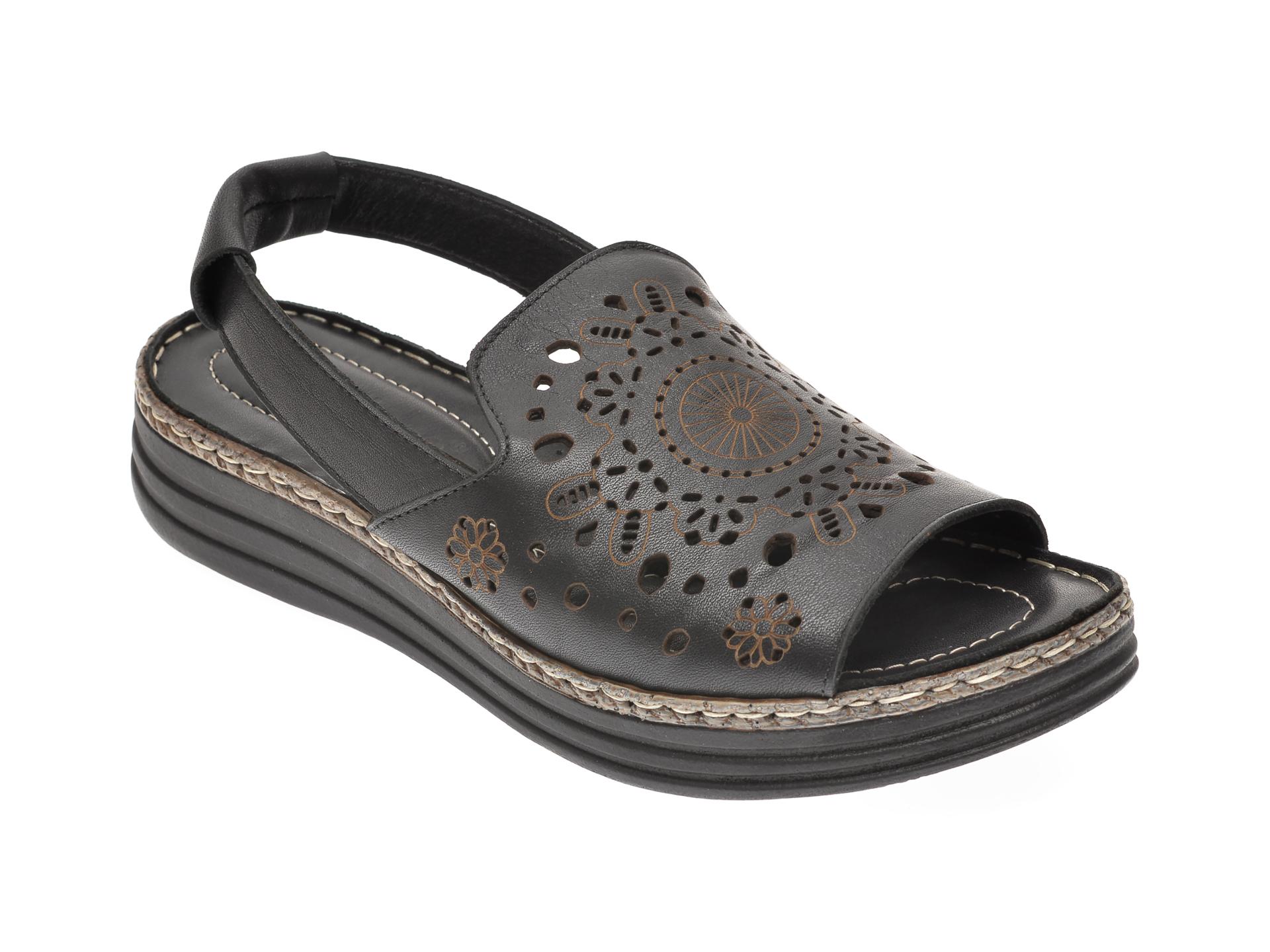 Sandale ENDICAN negre, 123531, din piele naturala