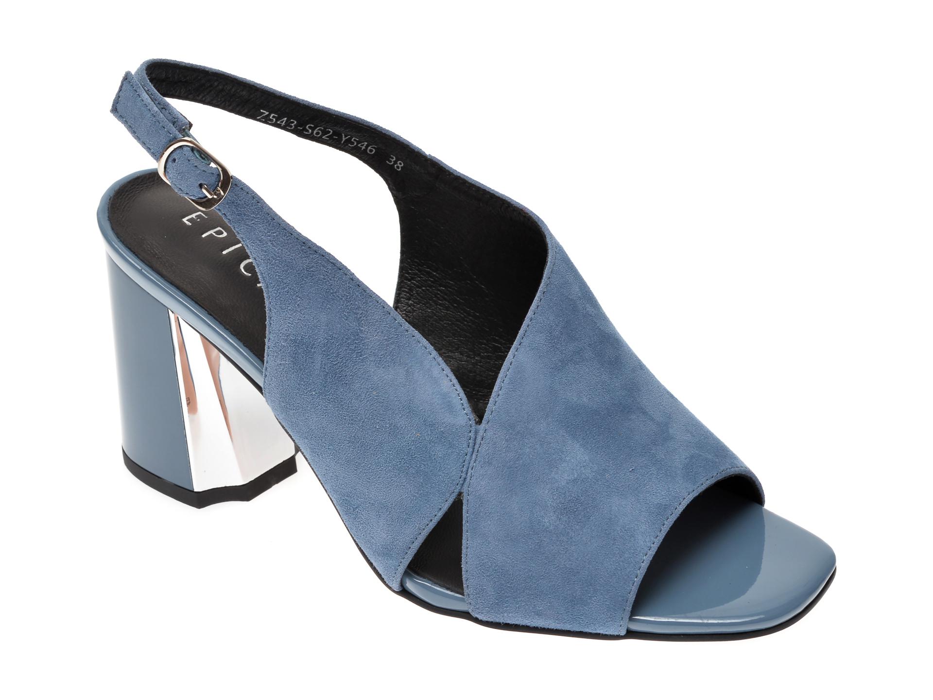 Sandale EPICA albastre, Z543S62, din piele intoarsa