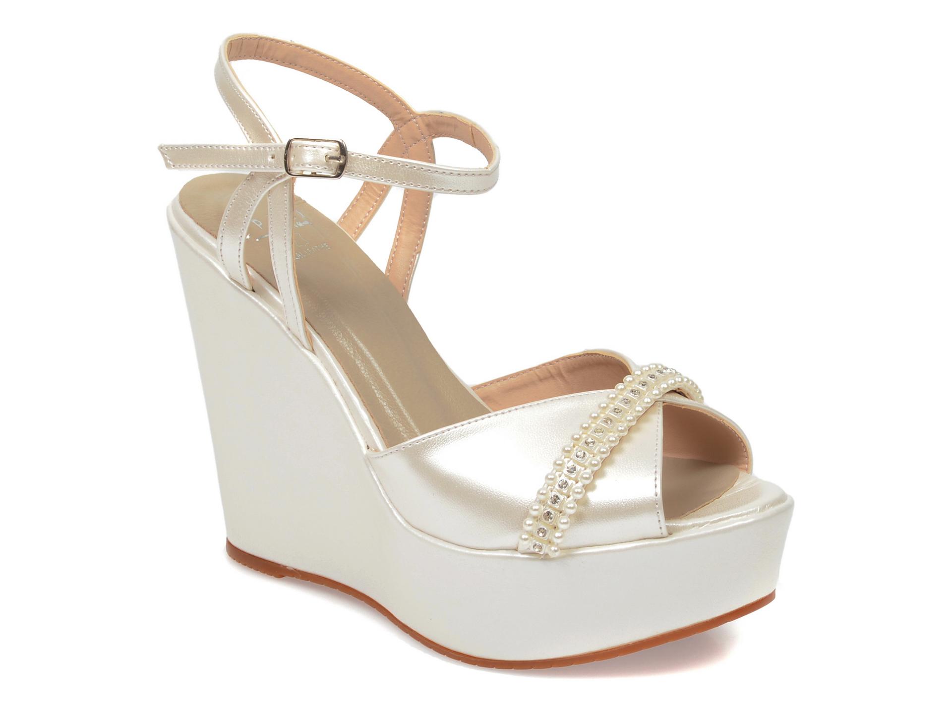 Sandale EPICA albe, 1702362, din piele ecologica