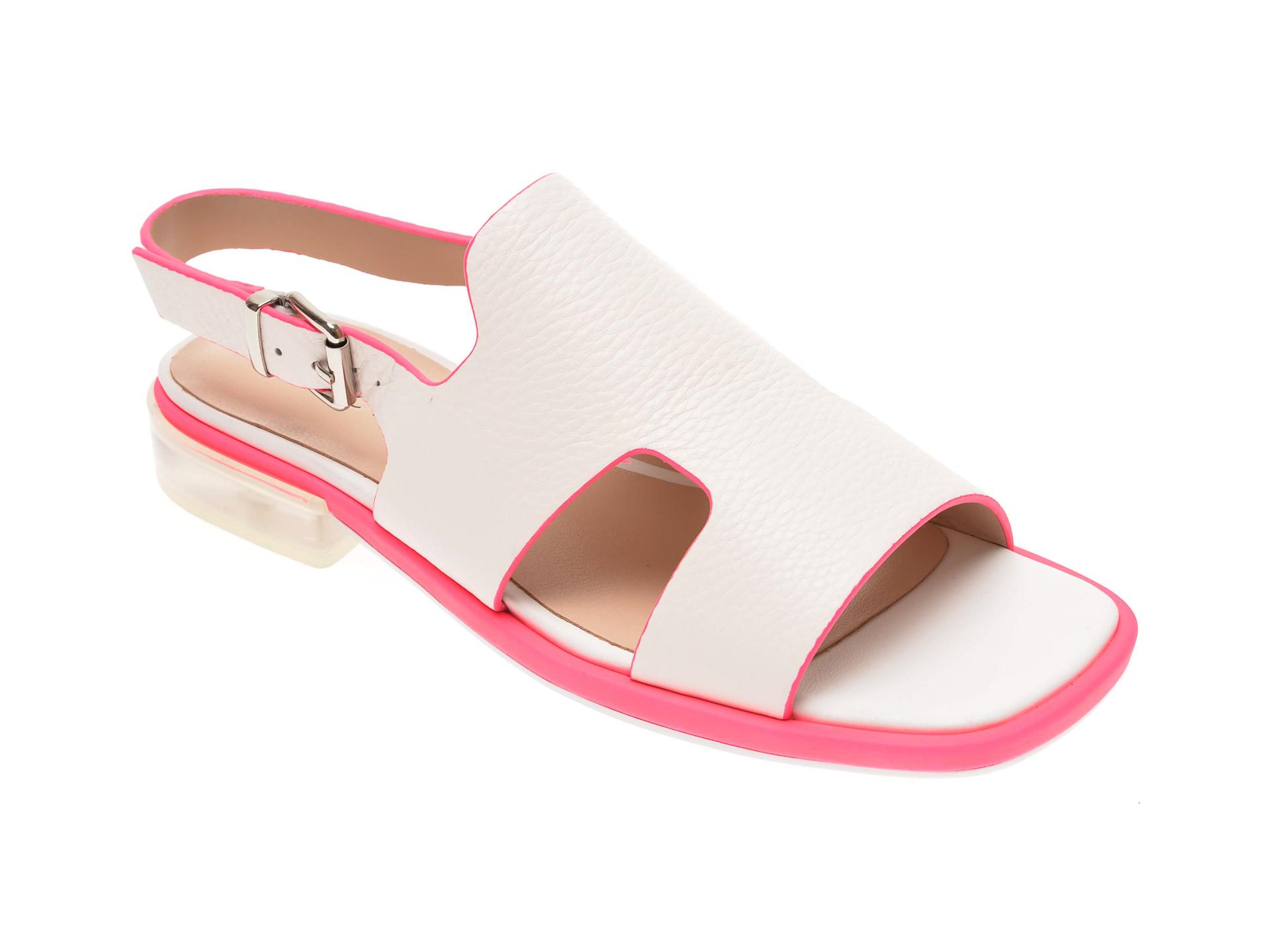 Sandale EPICA albe, 1833000, din piele naturala