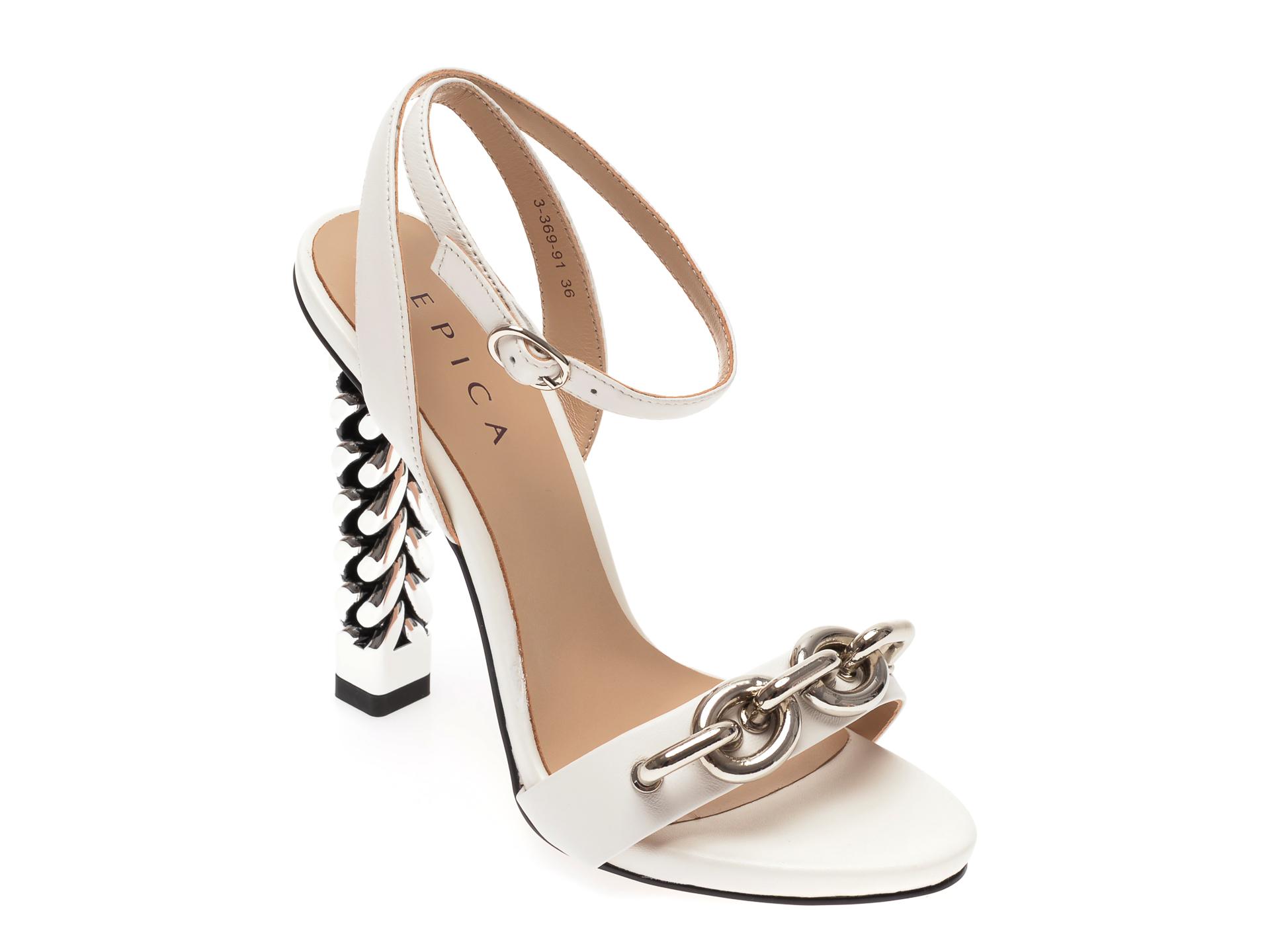 Sandale EPICA albe, 336991, din piele naturala