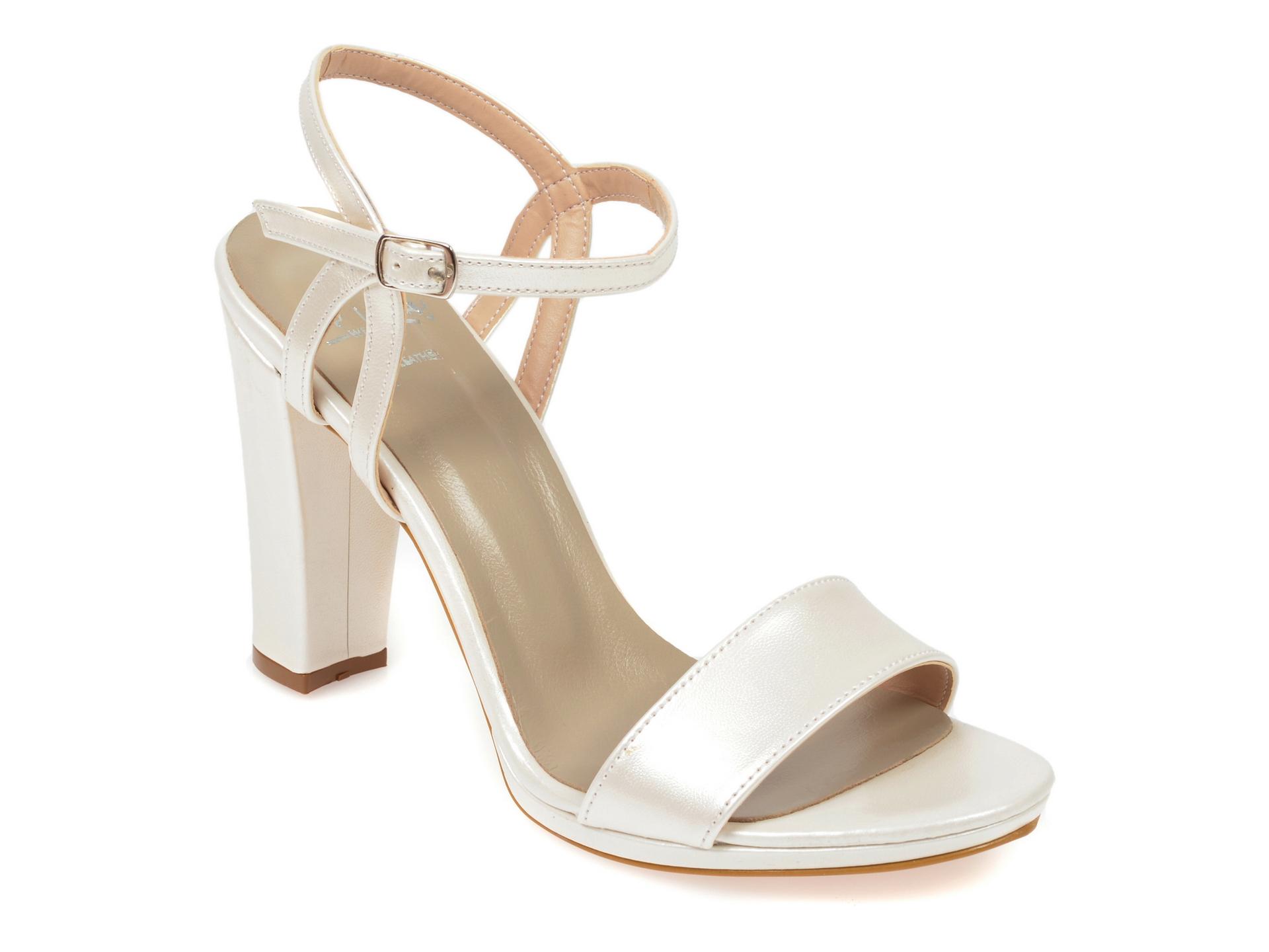 Sandale EPICA albe, 3946300, din piele ecologica