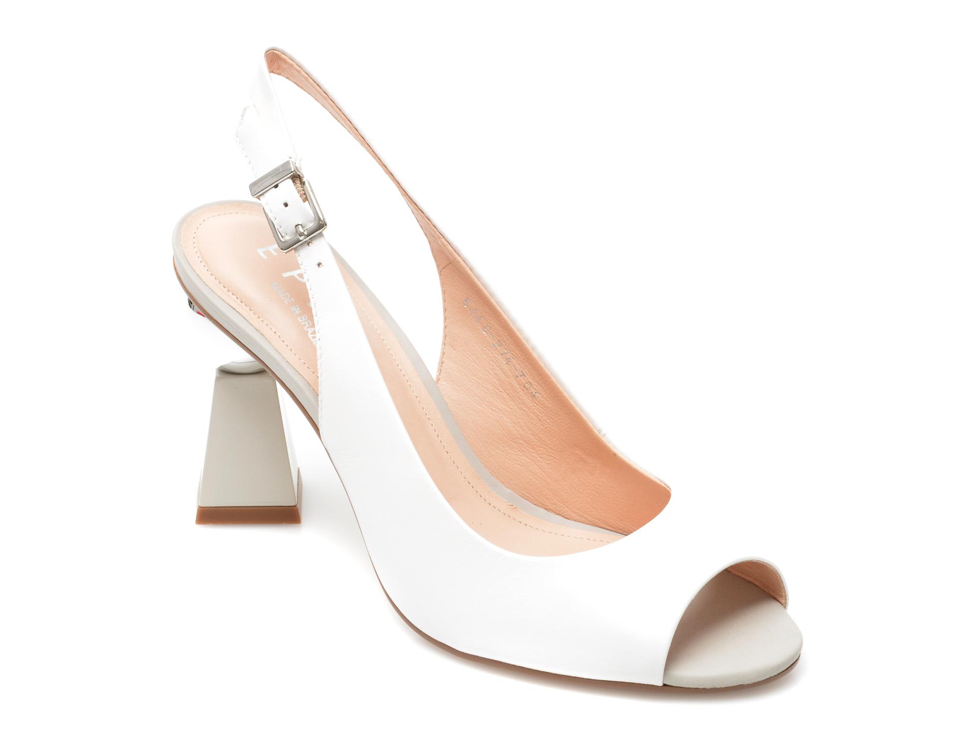 Sandale EPICA albe, 6446704, din piele naturala imagine otter.ro 2021