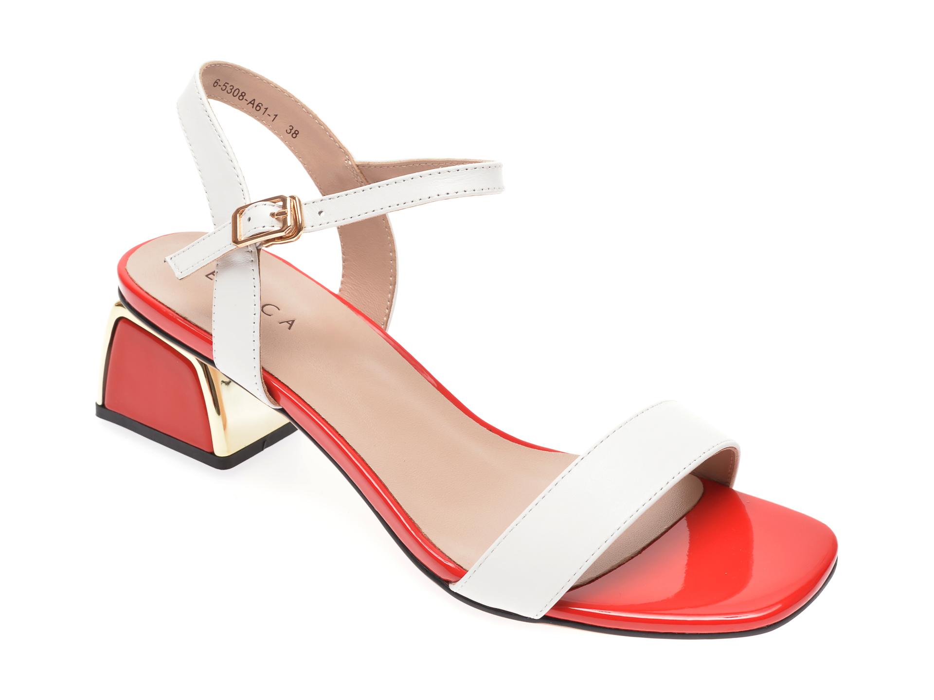 Sandale EPICA albe, 65308A6, din piele naturala New