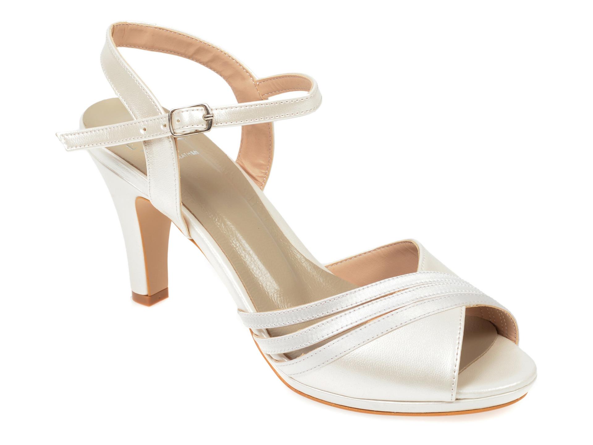 Sandale EPICA albe, 6572202, din piele ecologica