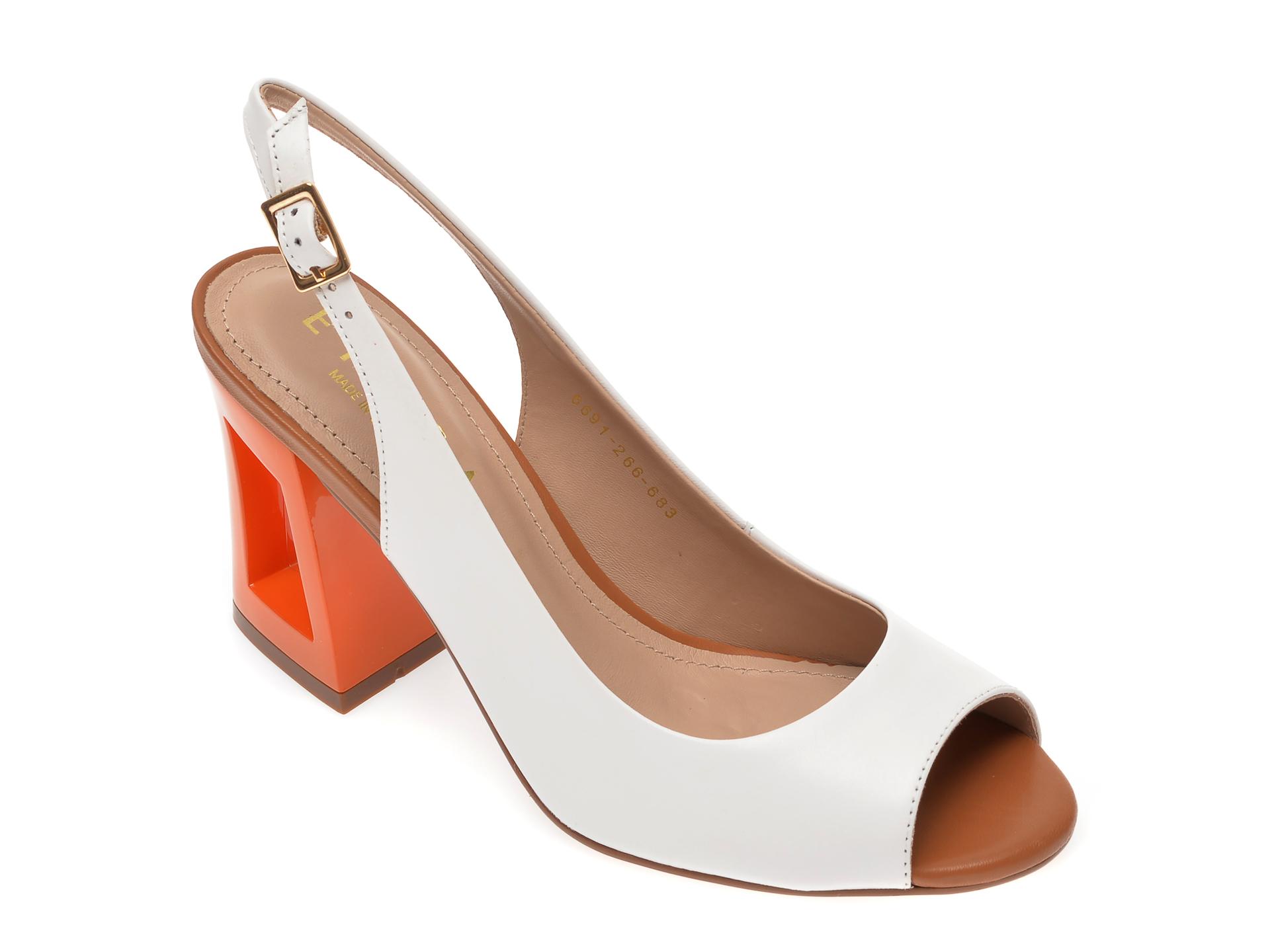 Sandale EPICA albe, 6691266, din piele naturala