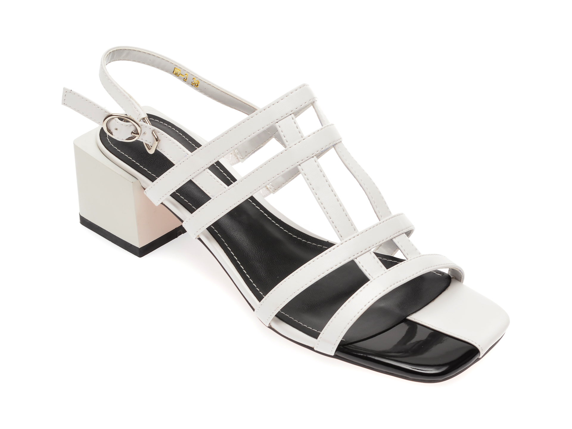 Sandale EPICA albe, HD3, din piele ecologica New