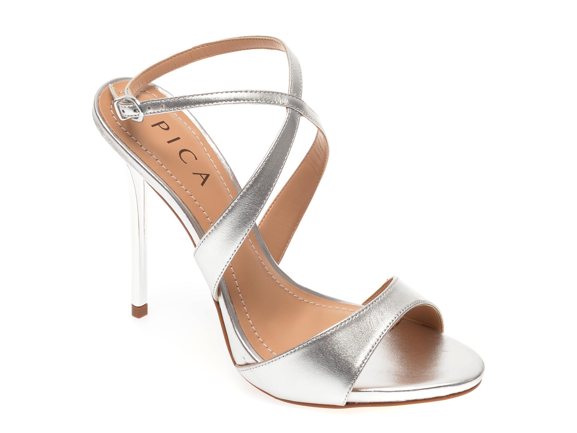 Sandale EPICA argintii, 119277, din piele naturala